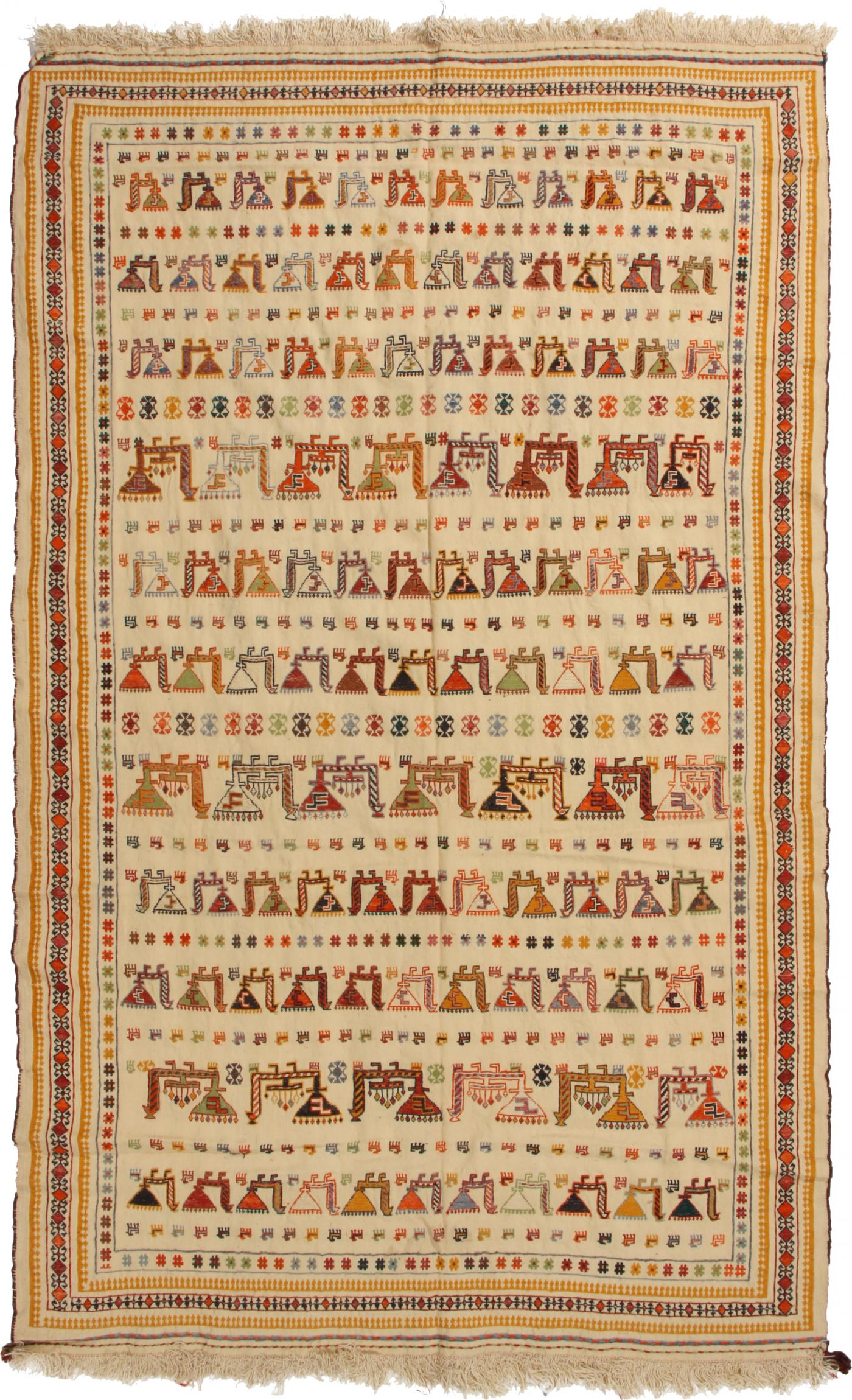 Antique Verneh Beige Wool Persian Rug With Uncommon Animal Motifs
