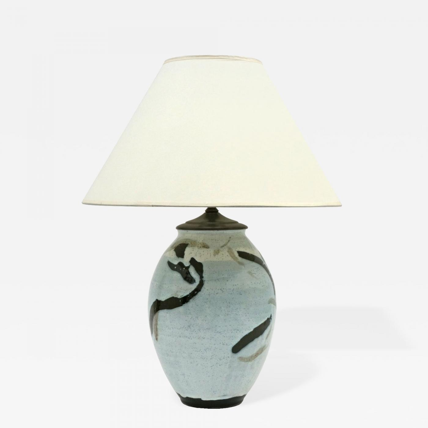 Abstract Ceramic Table Lamp Light Blue Black And White