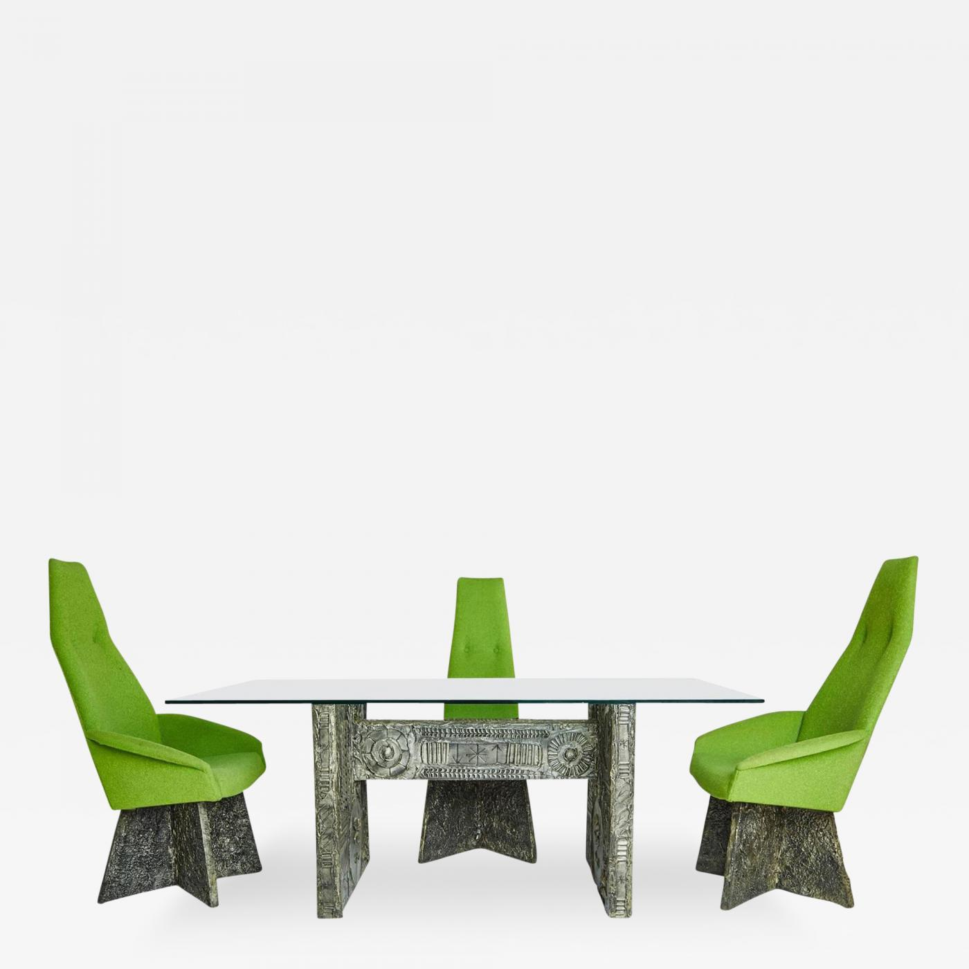 Adrian Pearsall Brutalist Dining Set with 4 Chairs by Adrian