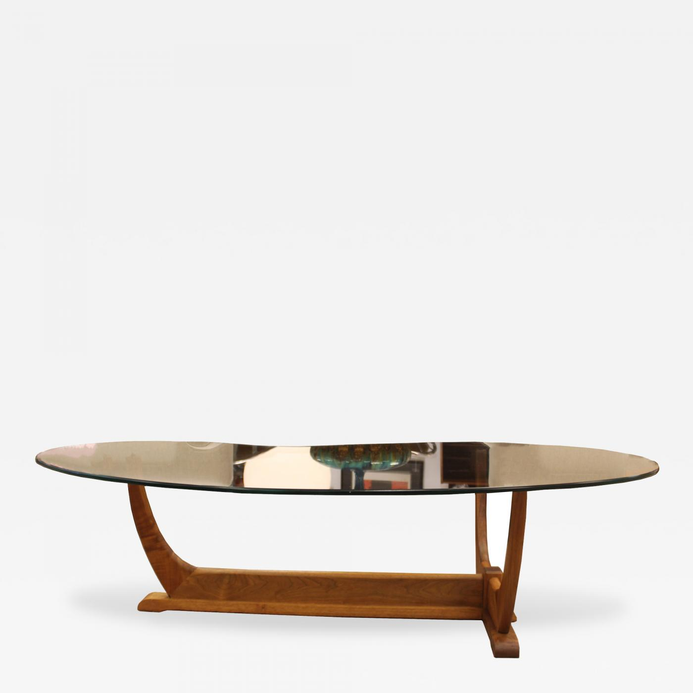 Listings / Furniture / Tables / Coffee Tables · Adrian Pearsall ... - Adrian Pearsall - Mid Century Modern Kidney Shaped Walnut Glass