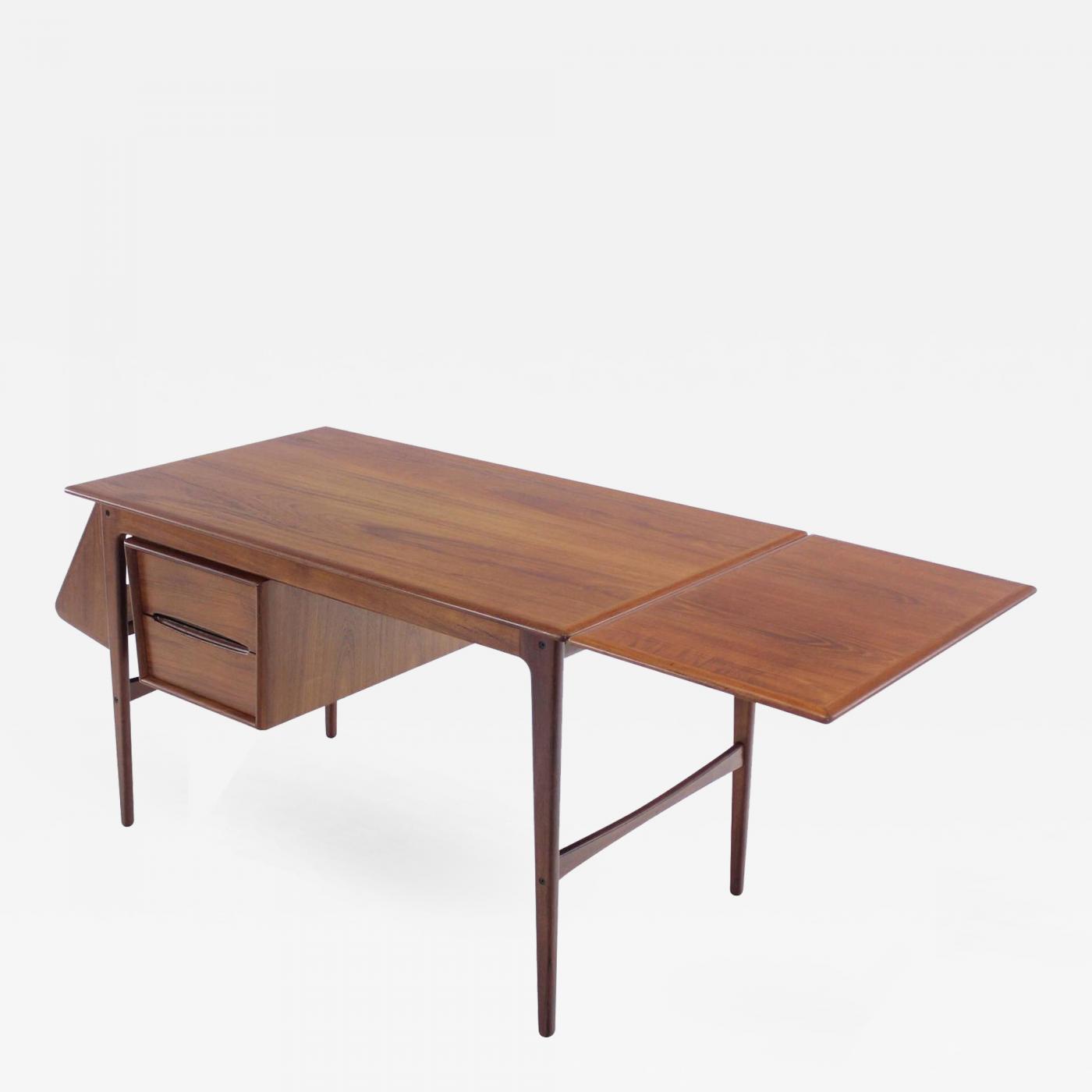 Aksel Boll Jensen Danish Modern Teak Drop Leaf Desk Designed by