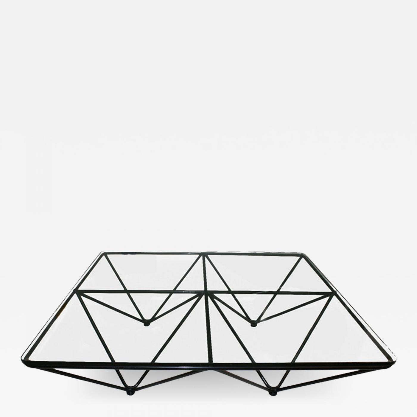Paolo Piva Geometric Metal Base And Glass Top Coffee Table Italy