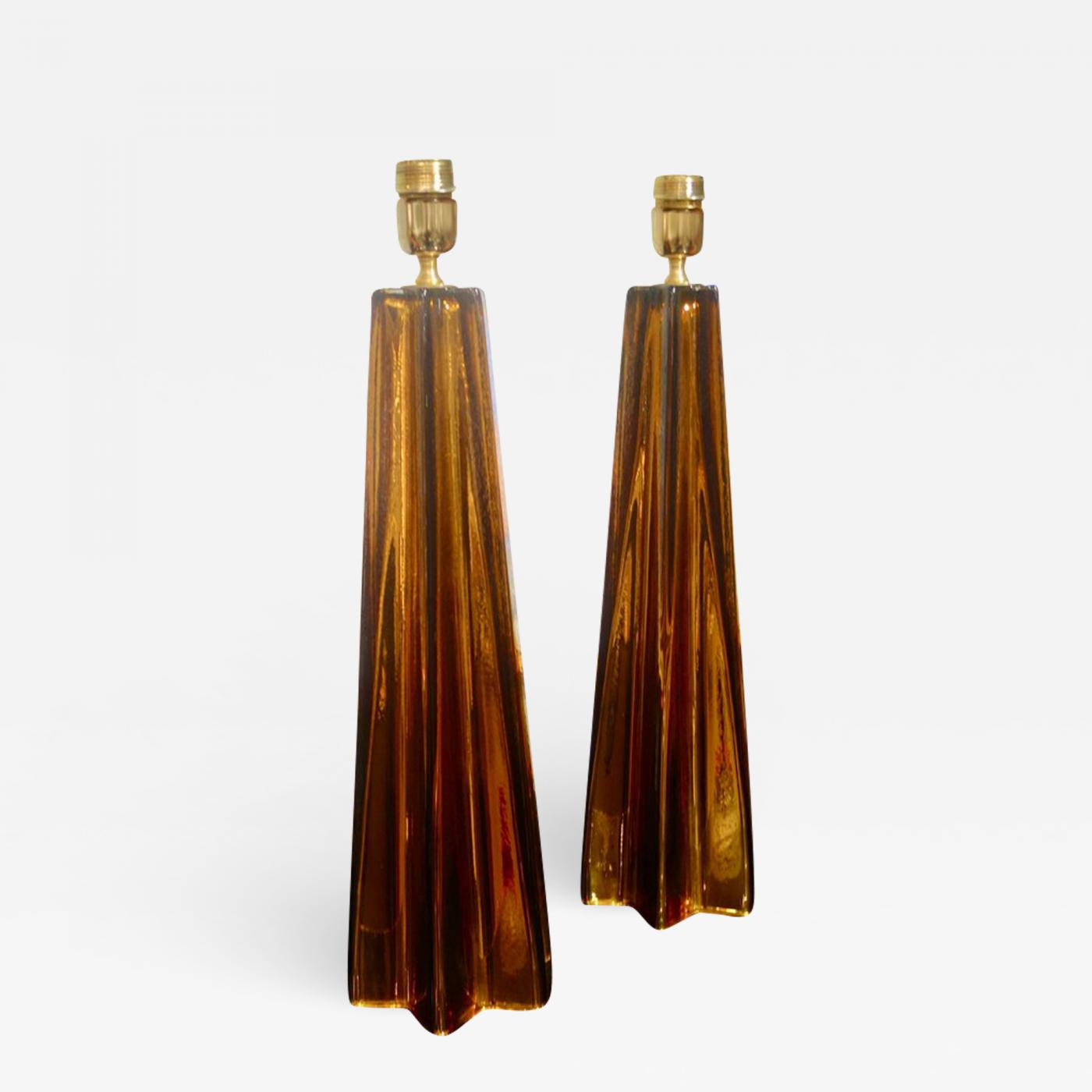Alberto Dona A Pair Of Bronze Murano Mercury Glass Table Lamps
