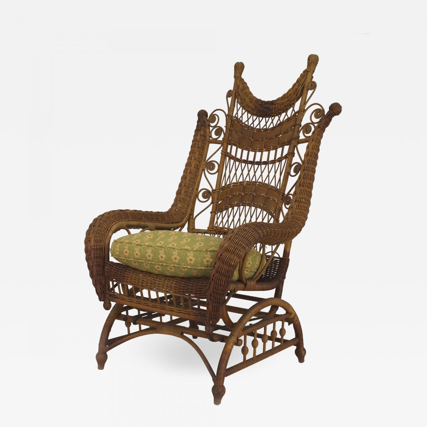 Heywood Wakefield American Victorian Natural Wicker Ornate High Back Platform Rocking Chair