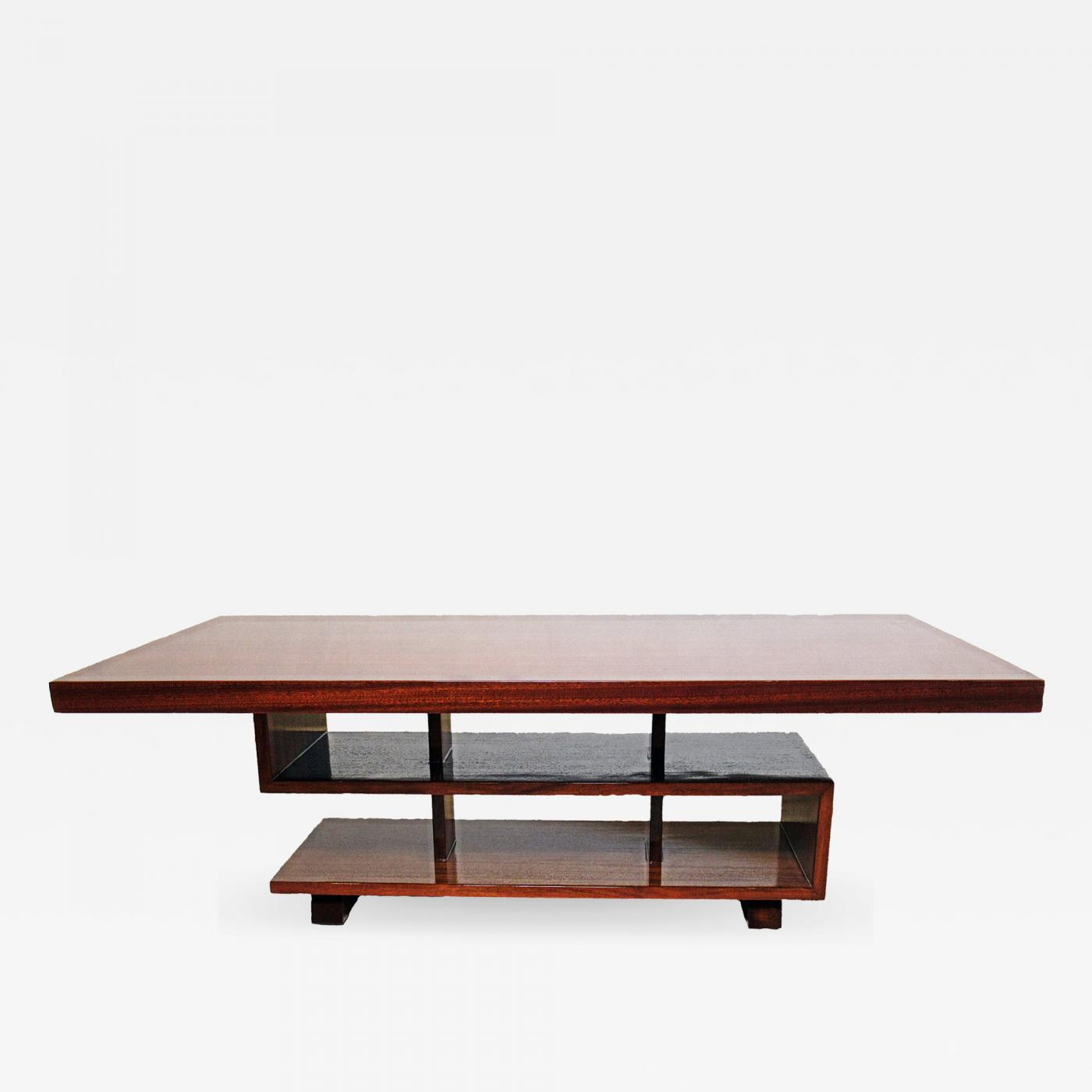 André Sornay French Modern Mahogany Greek Key Coffee Table