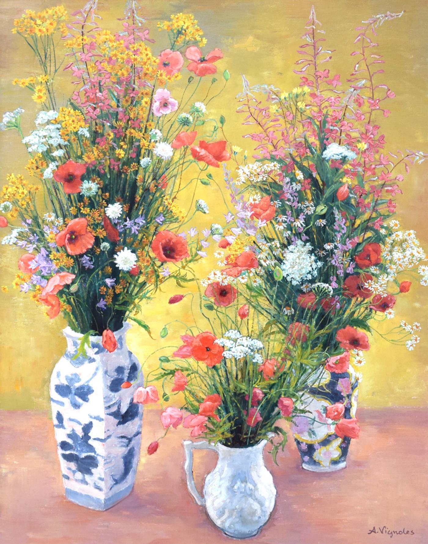 Andre vignoles bouquets de coquelicots et fleurs des champs - Bouquet de fleurs des champs ...