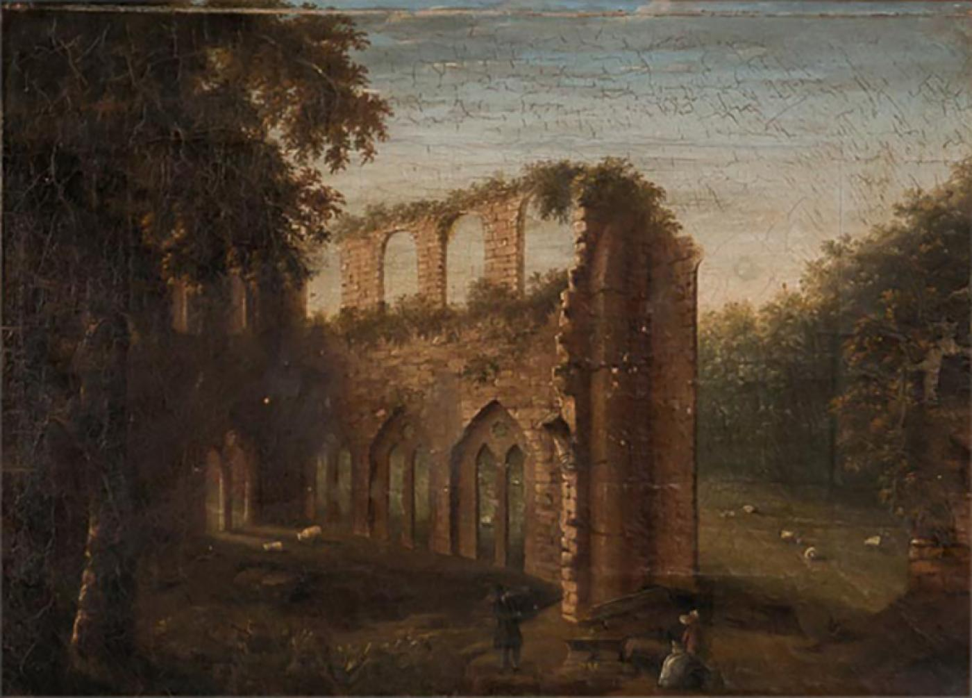 Antique 19th Century Original English Oil Painting Landscape Of Abbey Ruins