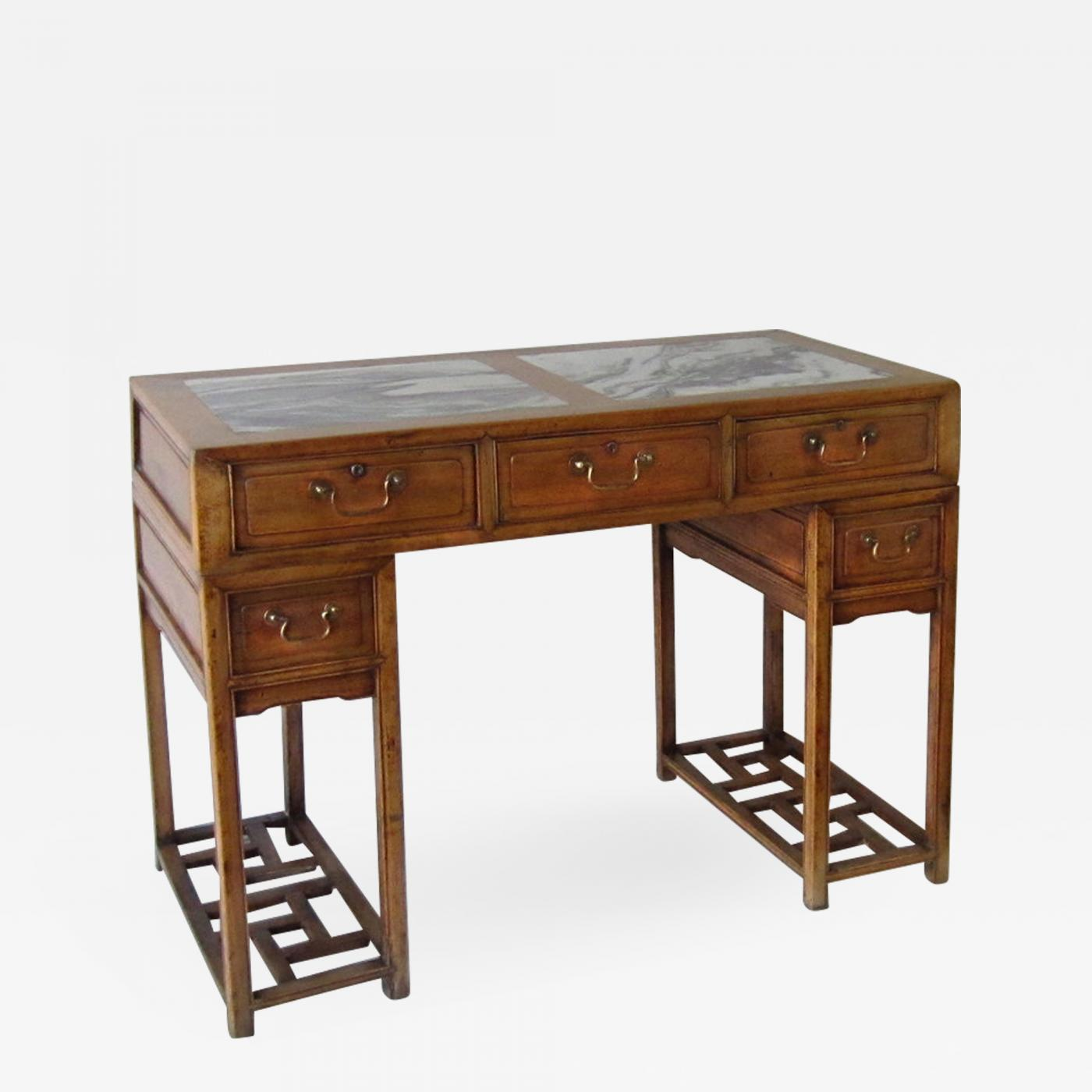 - Antique Chinese Two Section Marble Top Desk