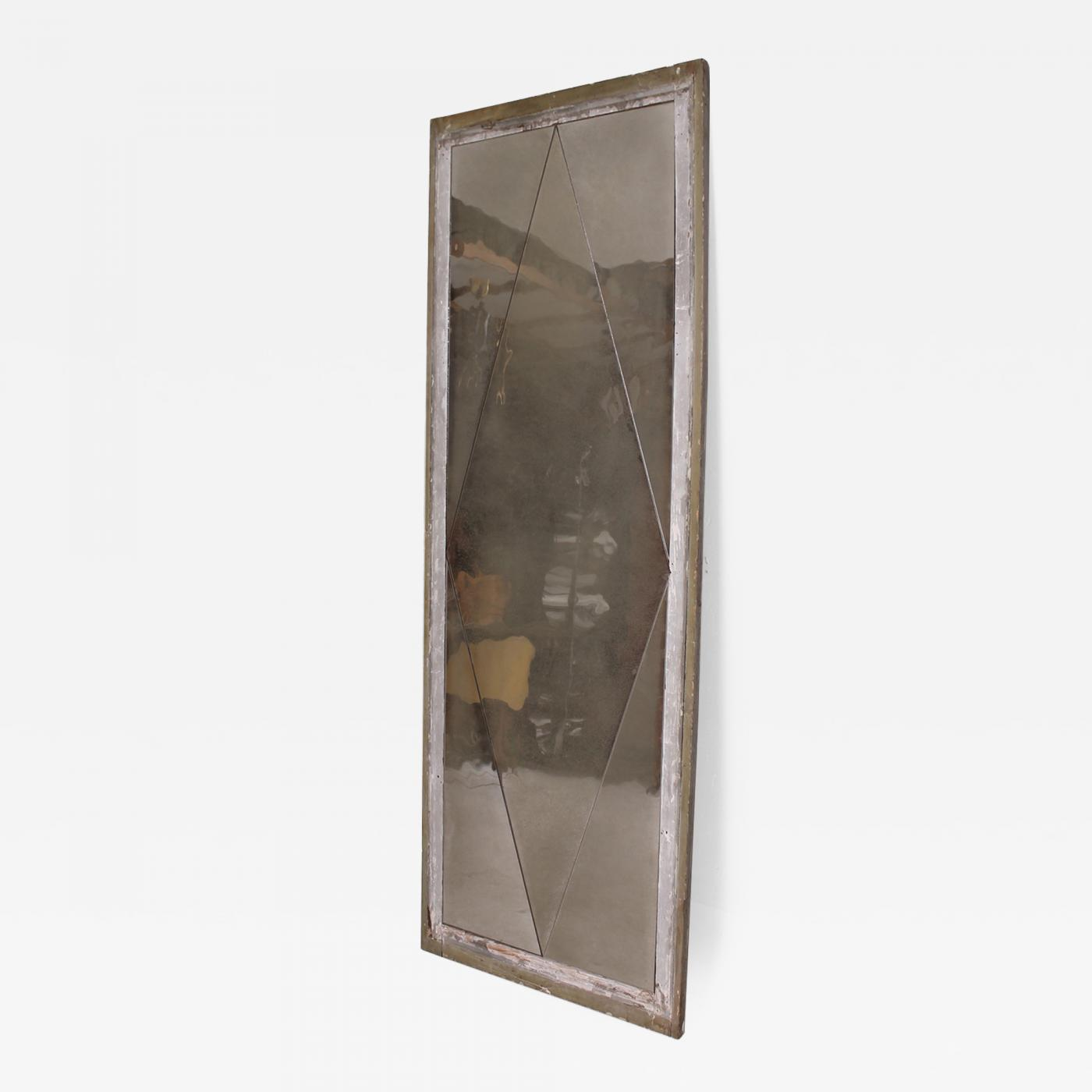 Antique Distressed French Floor Mirror with Diamond Pattern, 1940s