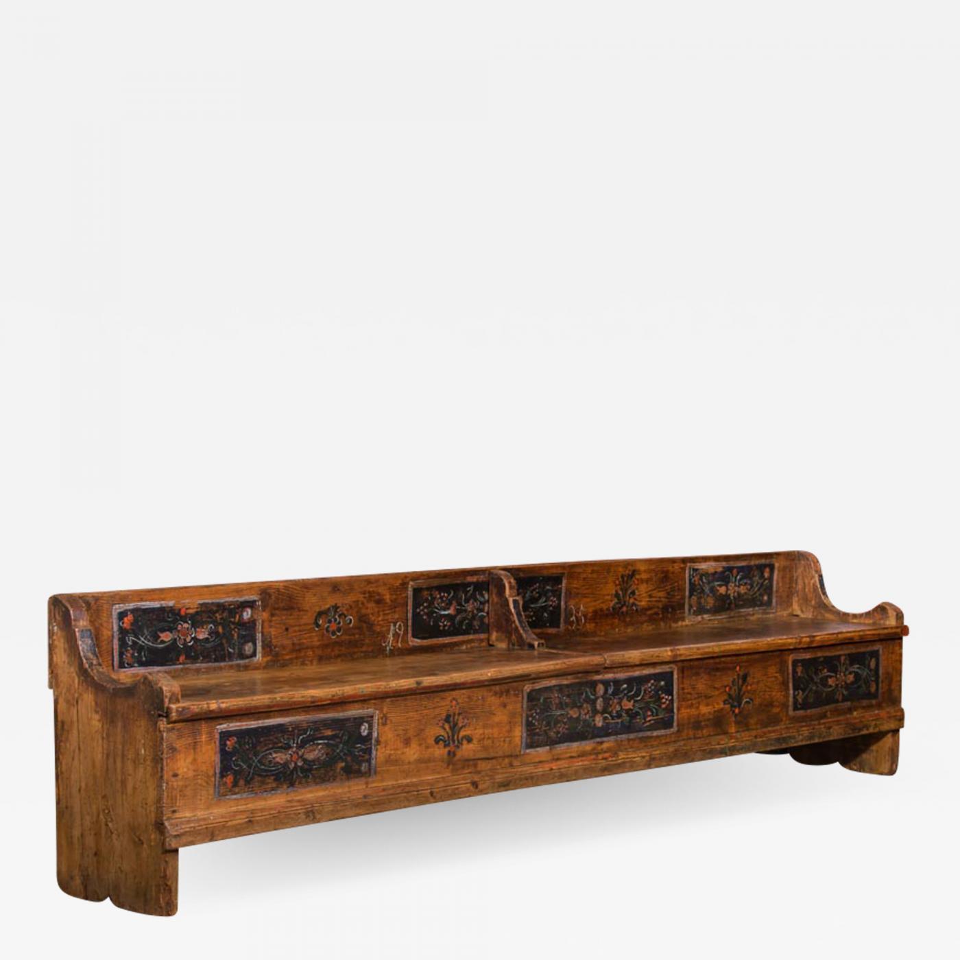 Excellent Antique Folk Art Painted Romanian Storage Bench Theyellowbook Wood Chair Design Ideas Theyellowbookinfo