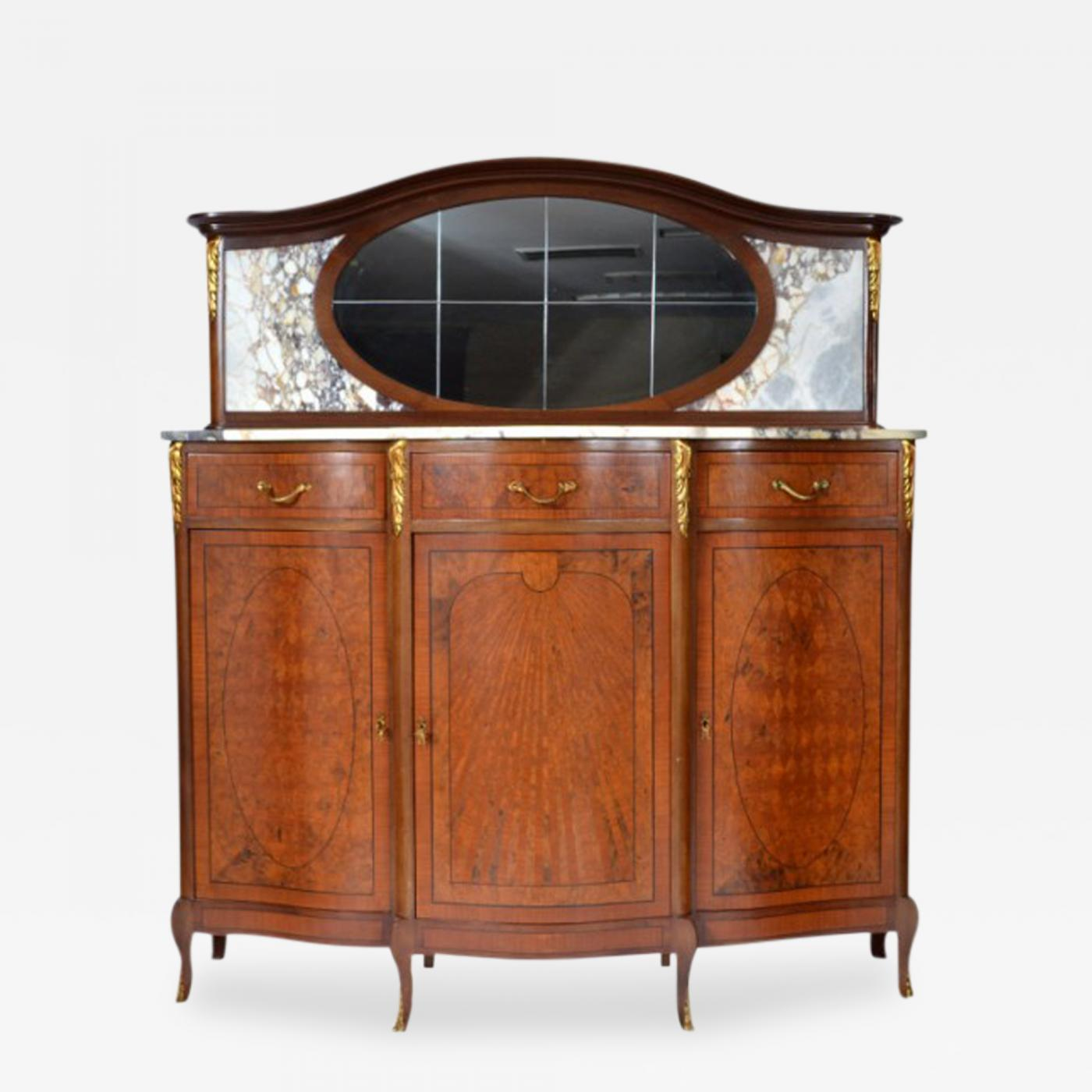 antique french louis xv louis xvi style mahogany and marble top buffet. Black Bedroom Furniture Sets. Home Design Ideas