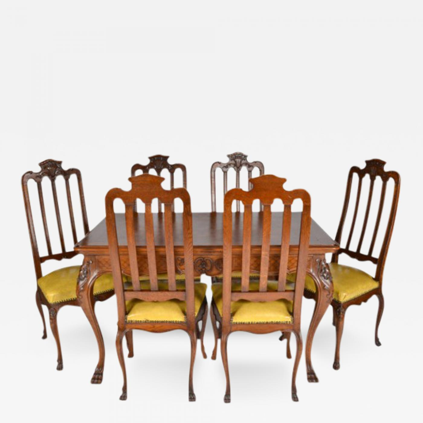 Antique Louis XIV Oak Dining Table And Six Chairs