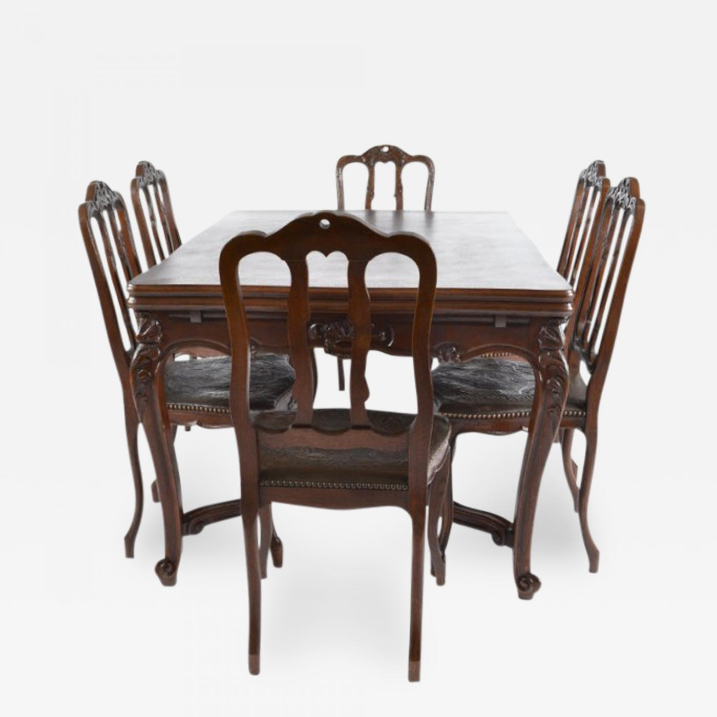 Antique Louis XV Dining Table And Six 6 Chairs France