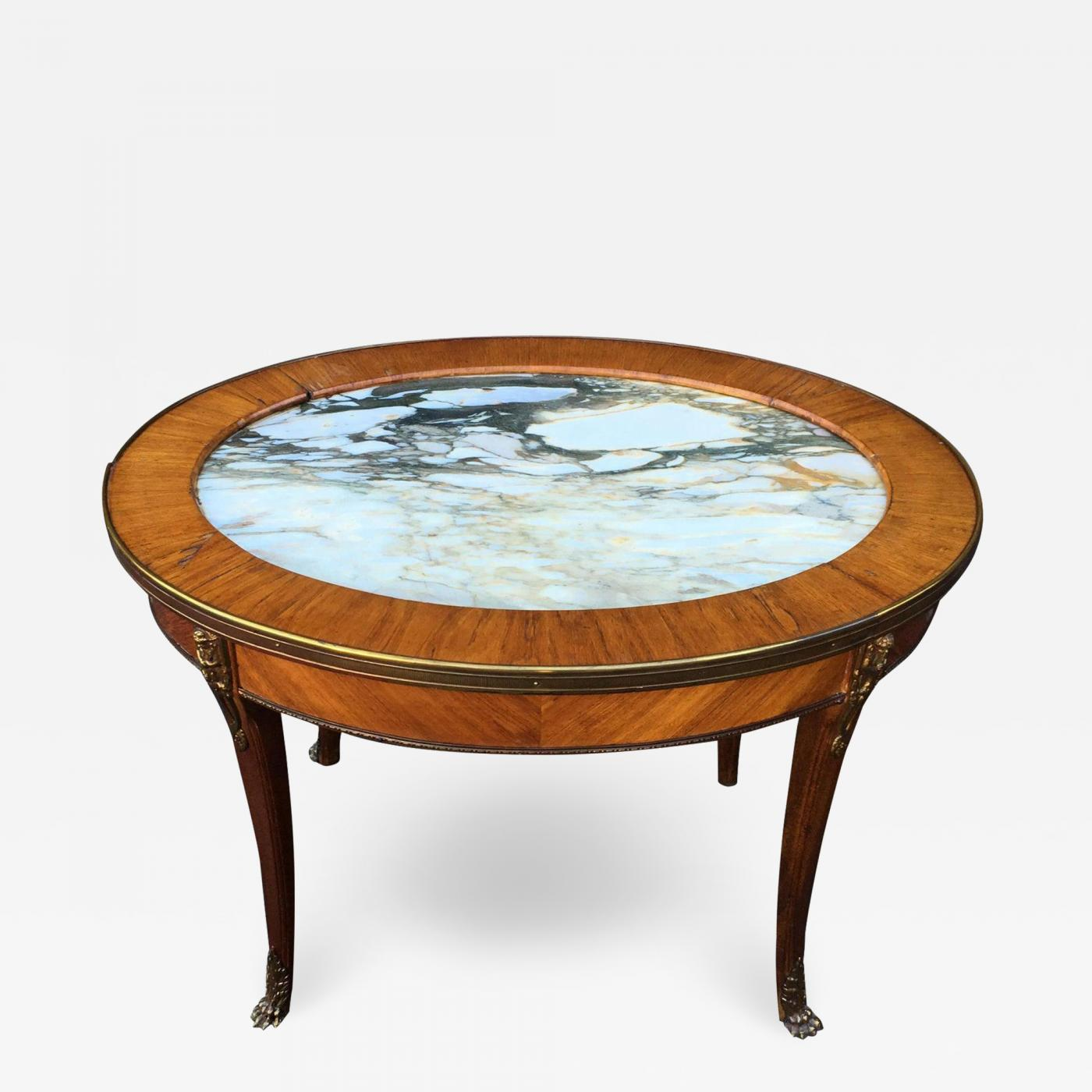 Antique Petit Gilt Bronze Louis Xvi Style Marble Top Oval Coffee Cocktail Table