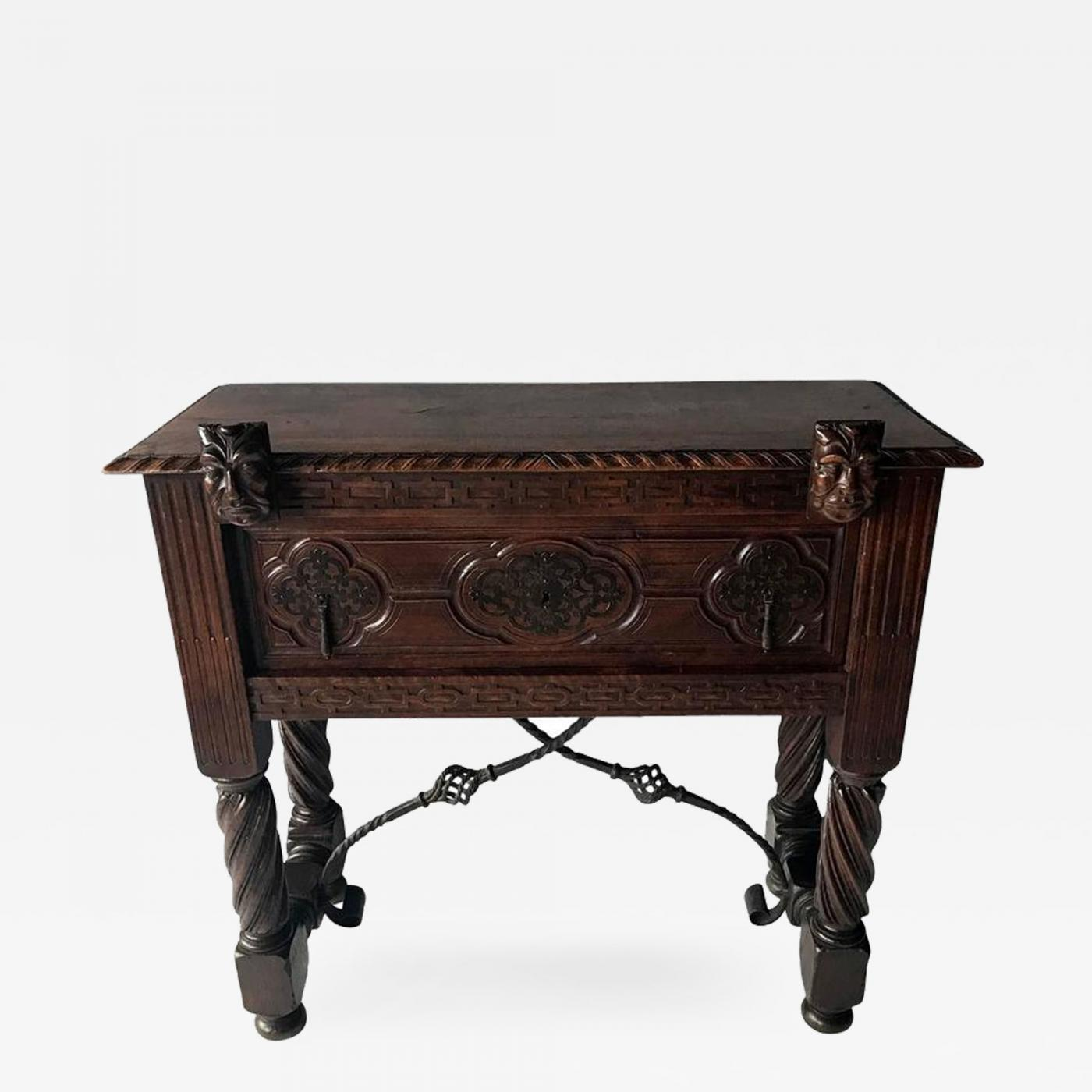 Antique Spanish Colonial Console Table with Drawer