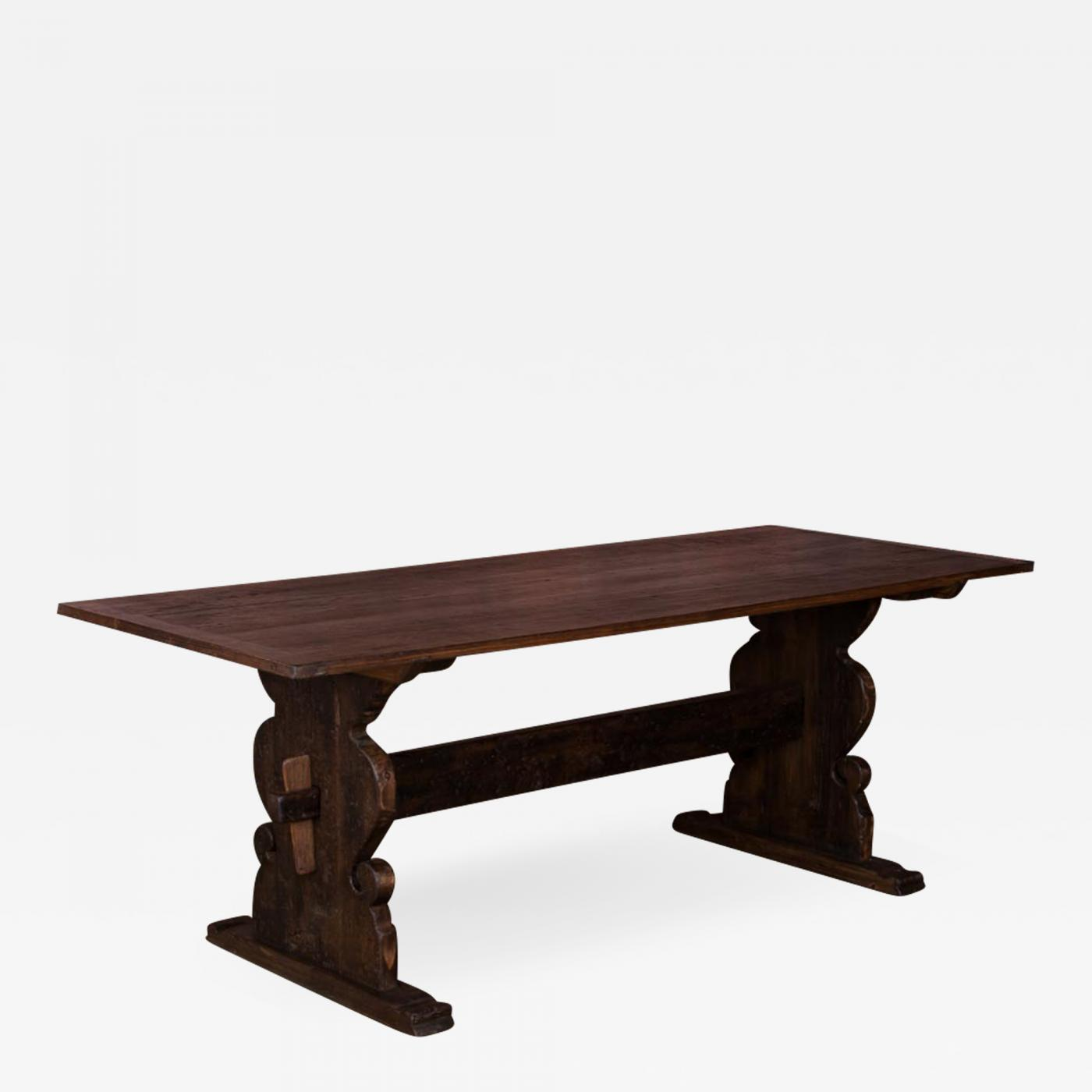 Listings / Furniture / Tables / Dining Tables & Antique Swedish Country Pine Trestle Dining Table