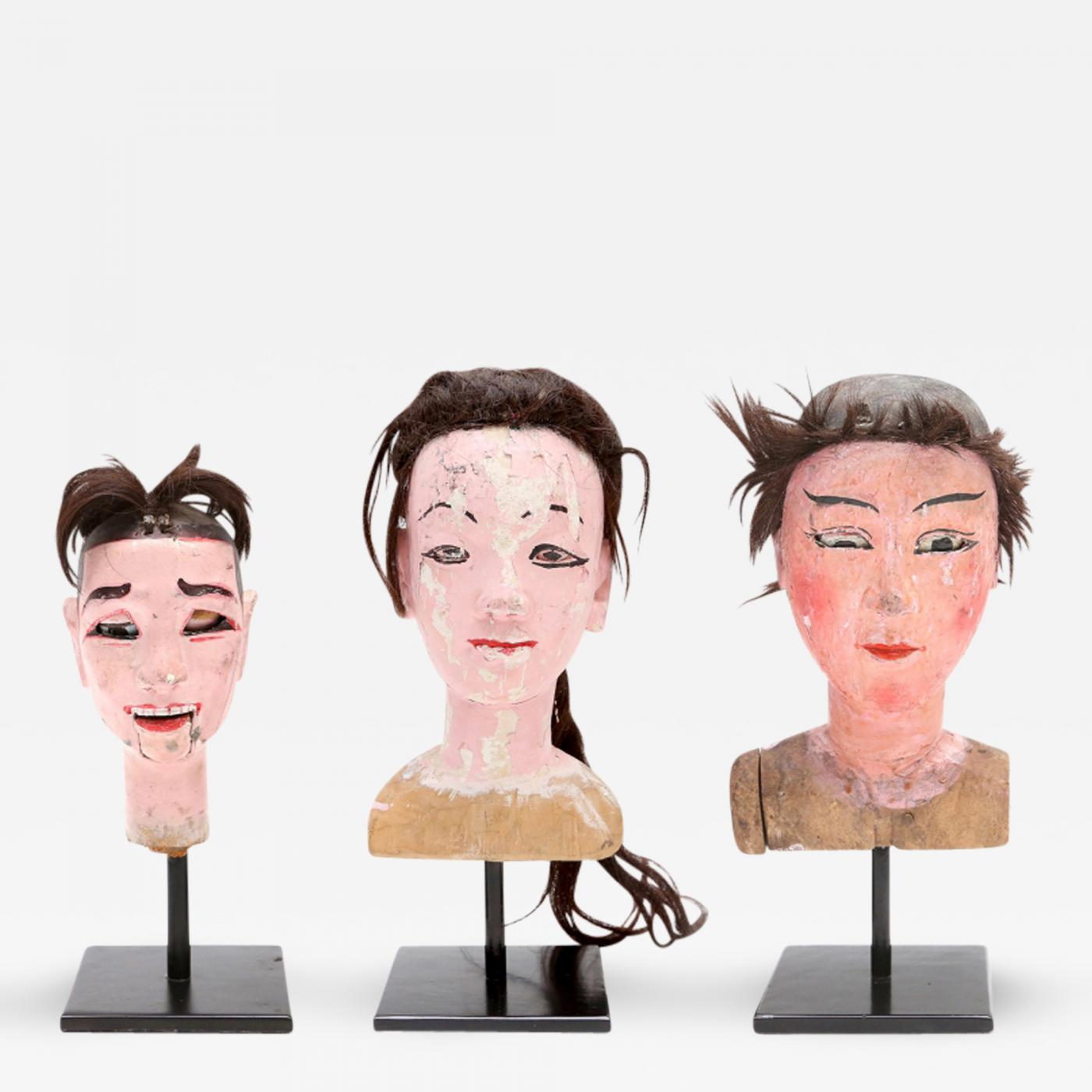 Antique Wooden Doll Heads