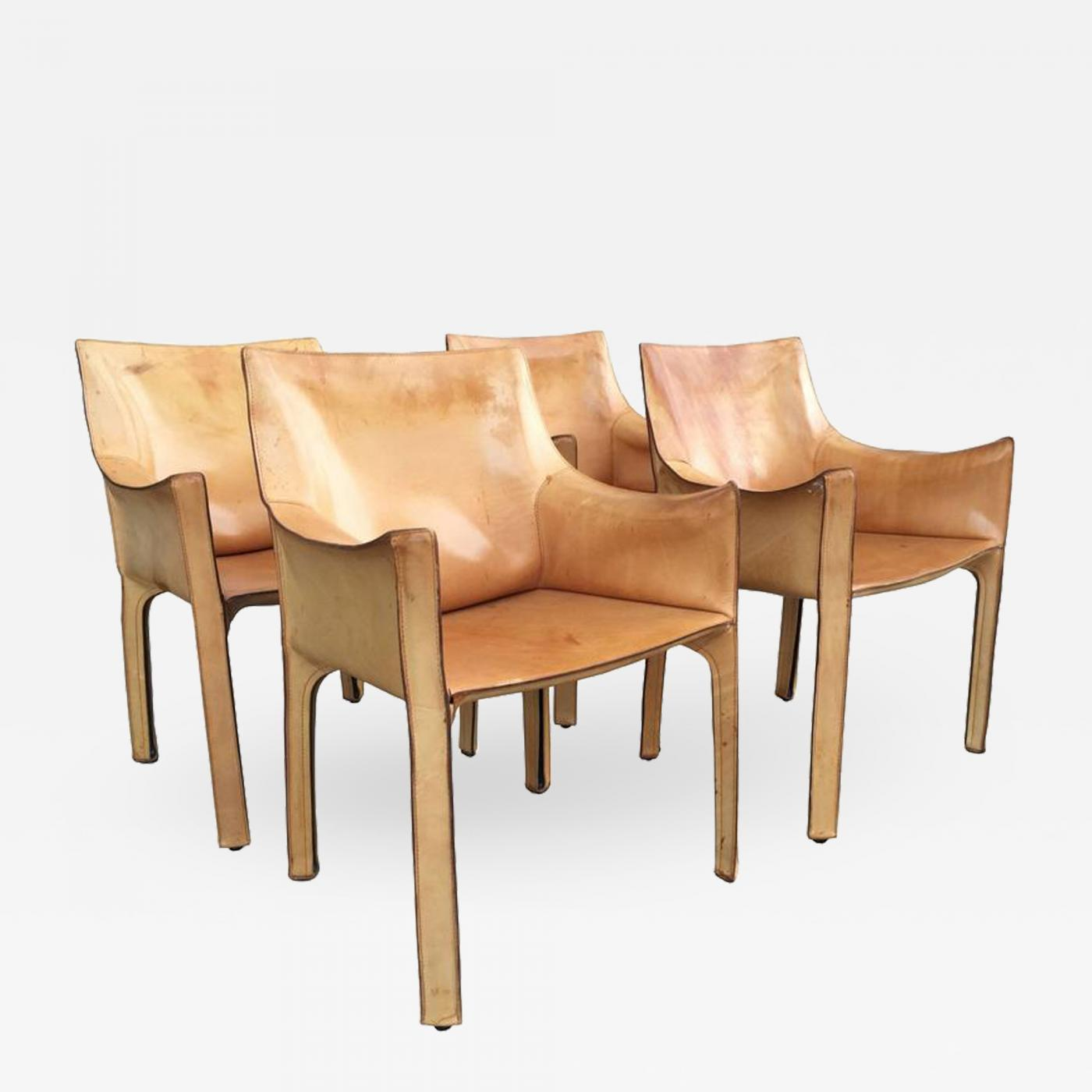 Brilliant Antonio Bellini Set Of Four Cab Leather Chairs By Antonio Bellini For Cassina Ocoug Best Dining Table And Chair Ideas Images Ocougorg