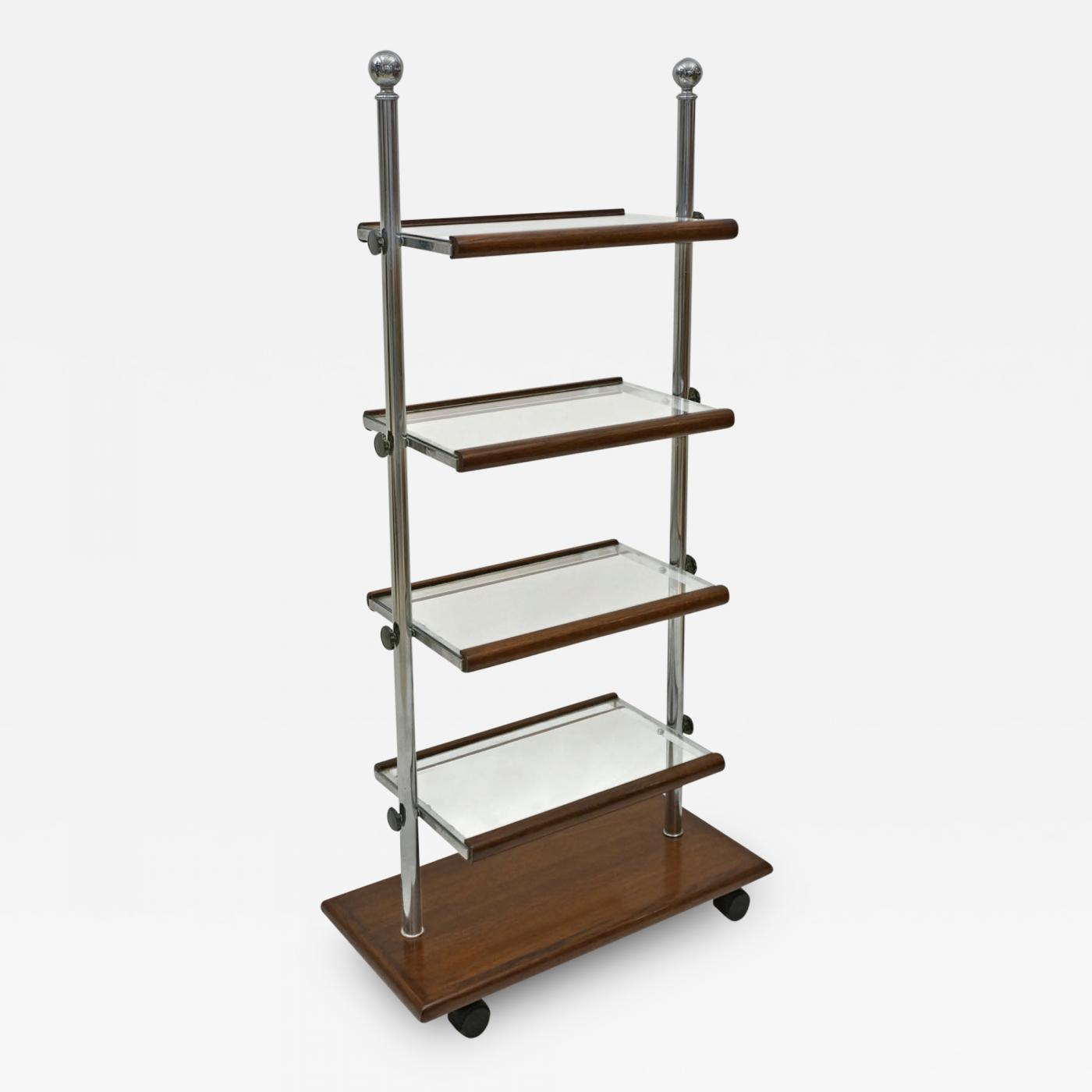 art deco chrome and oak wood folding etagere with glass. Black Bedroom Furniture Sets. Home Design Ideas