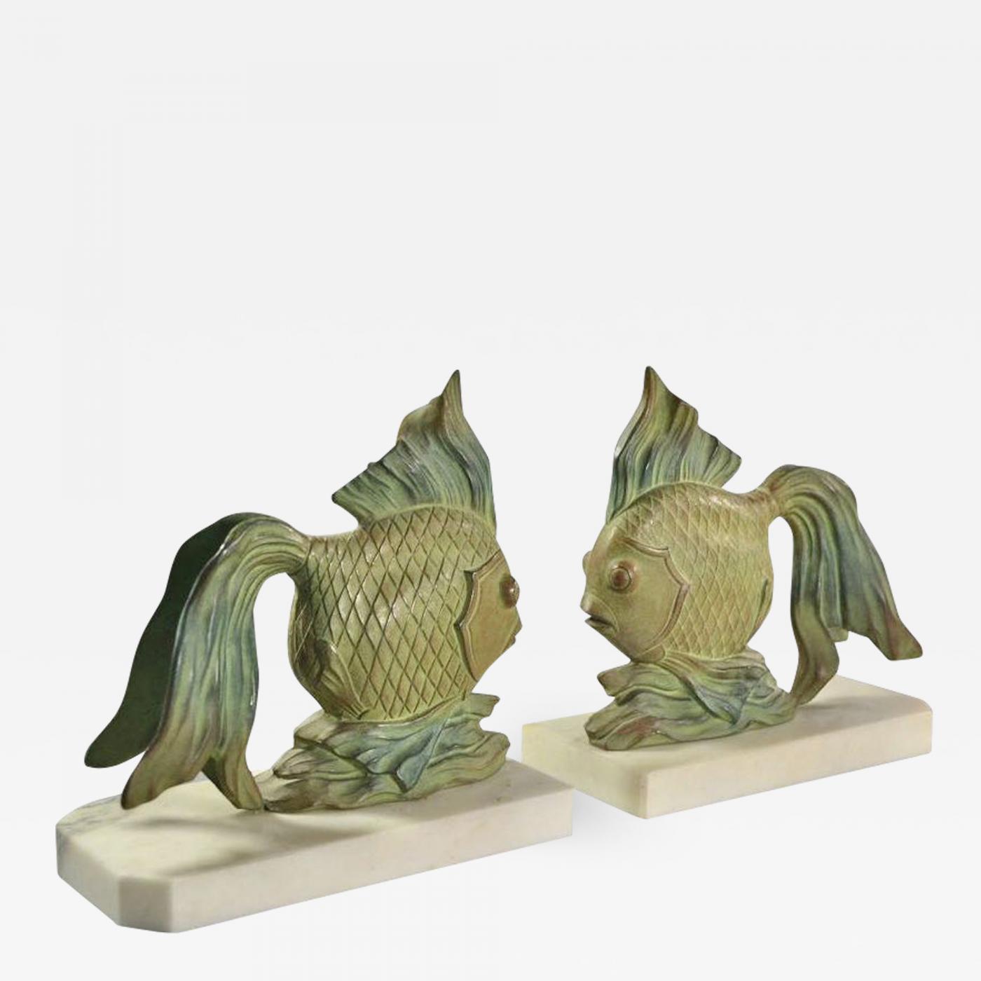 Art Deco Fish Bookends Sculptures