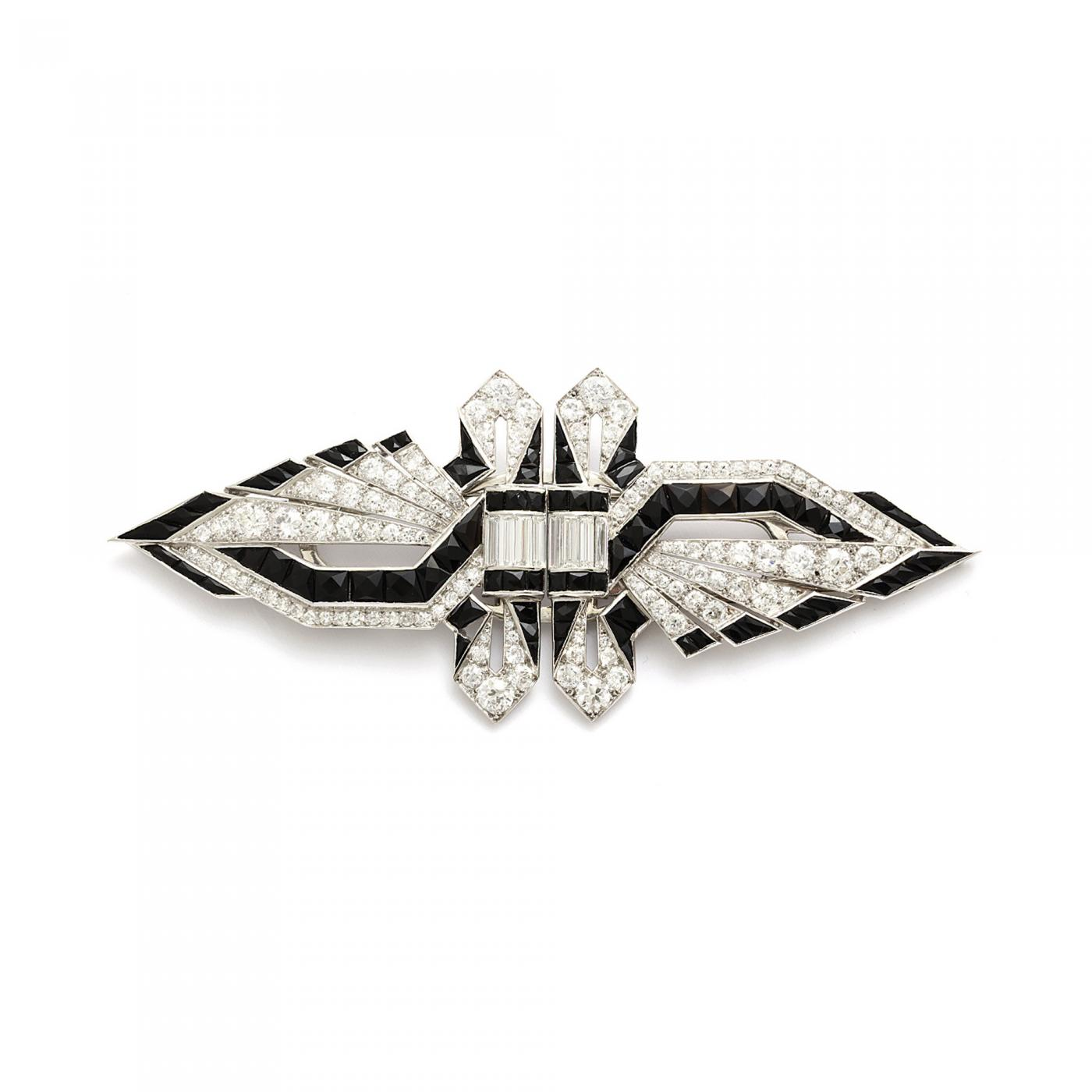 Art Deco Onyx and Diamond Double Clip Brooch
