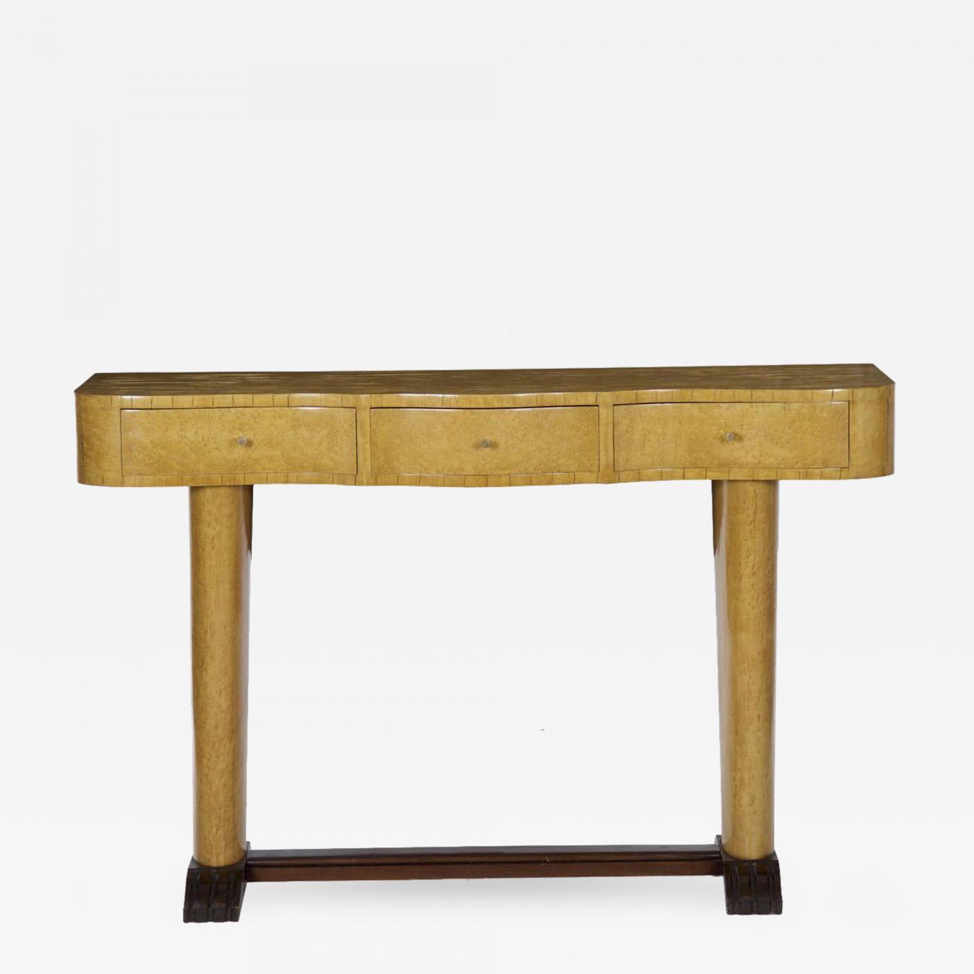Art deco period furniture Historical Listings Furniture Tables Console Pier Tables Art Deco Period Jeanmarc Fray Art Deco Period Birdseye Maple Threedrawer Console Brazil C 1940