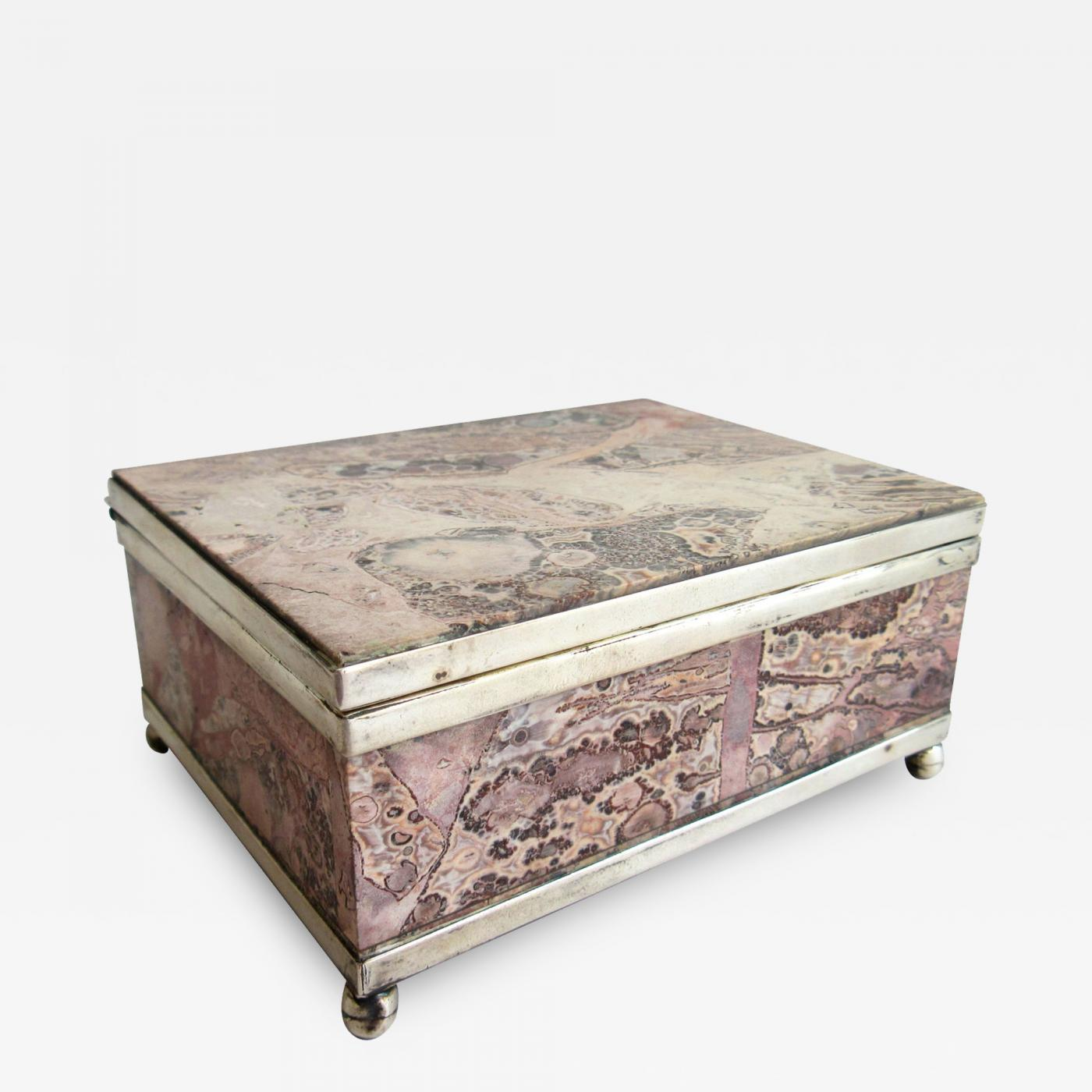 Art Deco Pink Lapidary Stone Box with Sterling Silver