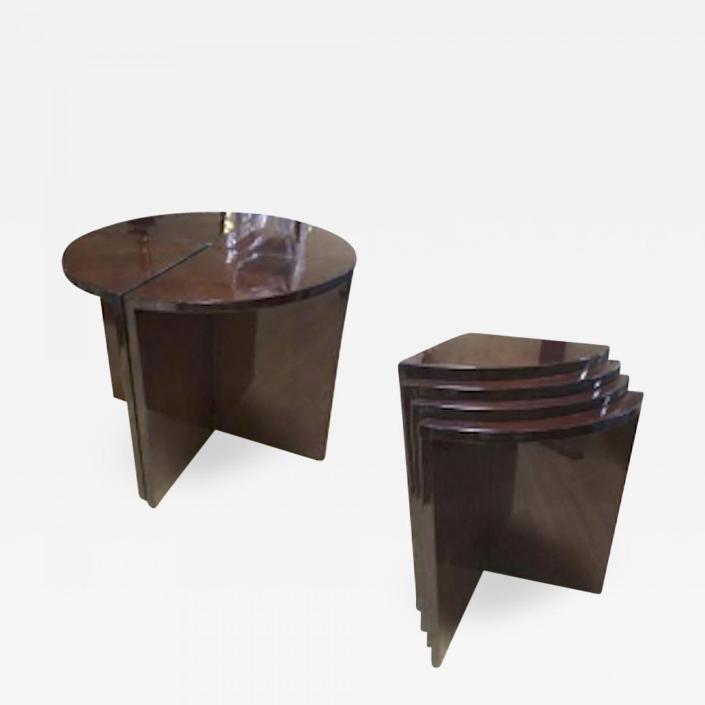 Peachy Art Deco Rare 4 Quarter Coffee Table Stackable In Nest Table Inzonedesignstudio Interior Chair Design Inzonedesignstudiocom