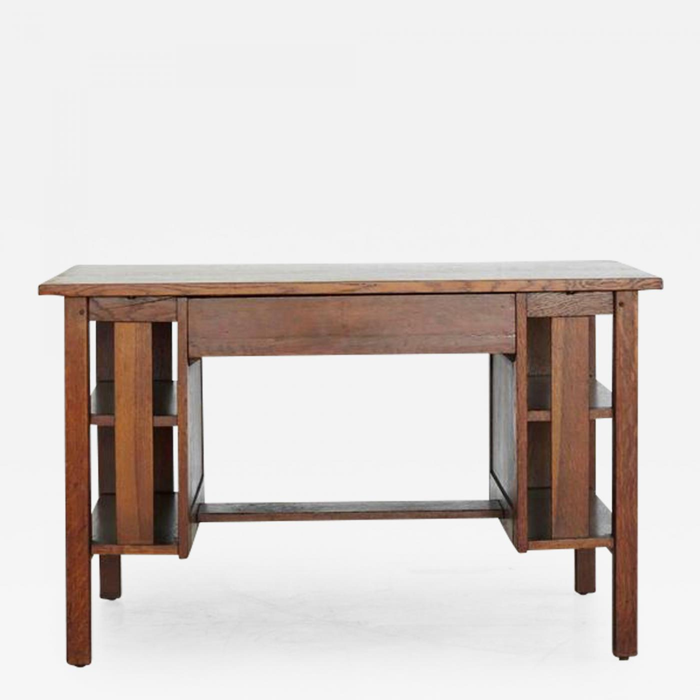 Arts & Crafts Mission Style Oak Library Table with Integrated