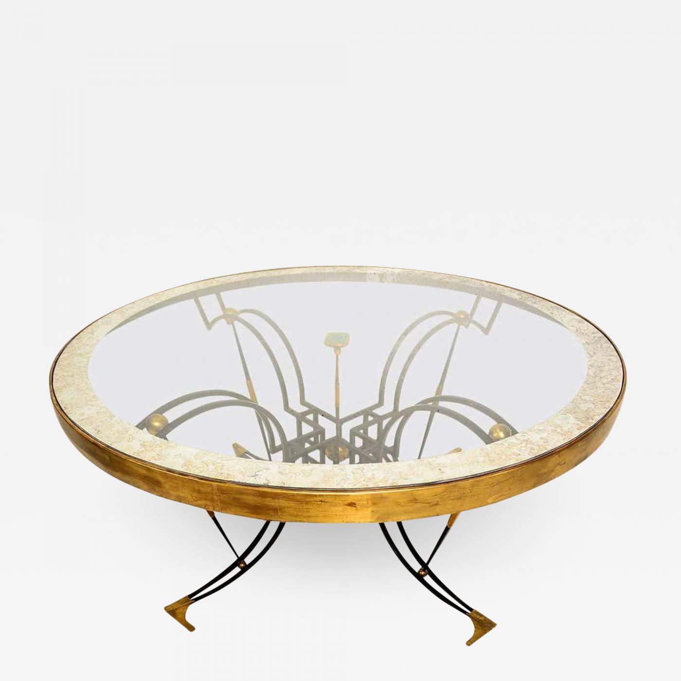 Arturo Pani Arturo Pani Divine Dining Table Sculpted Bronze Antique Glass Stunning Malachite