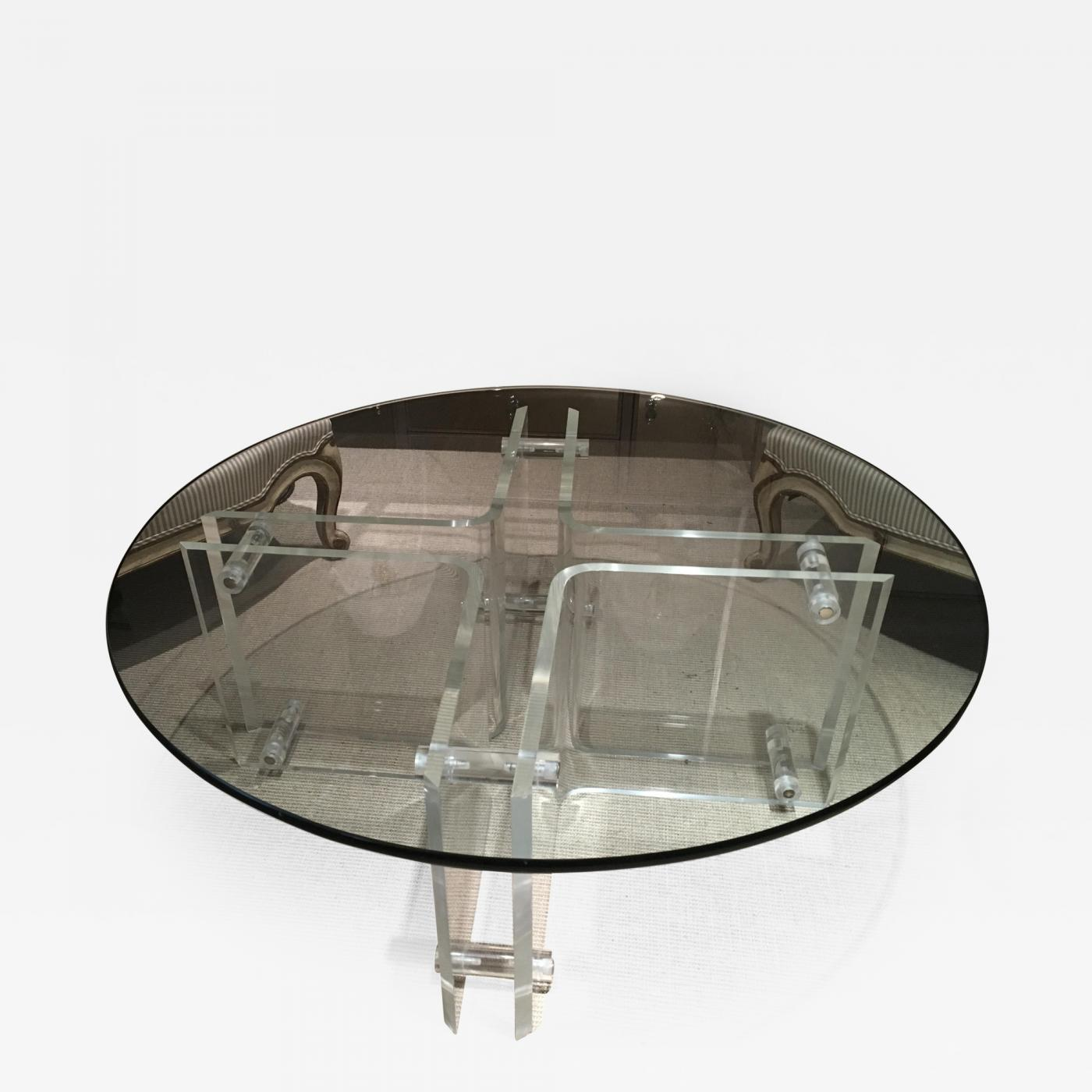 Attractive Round Mid Century Lucite Cocktail Table With Glass Top