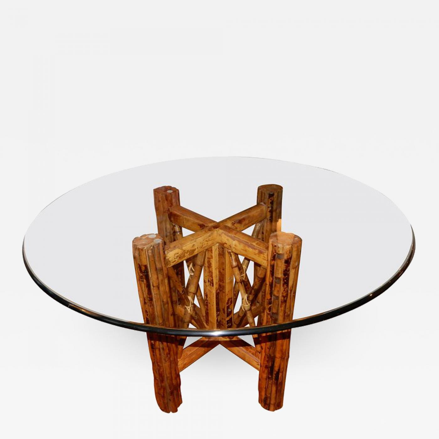 Picture of: Bamboo And Glass Top Dining Or Center Table