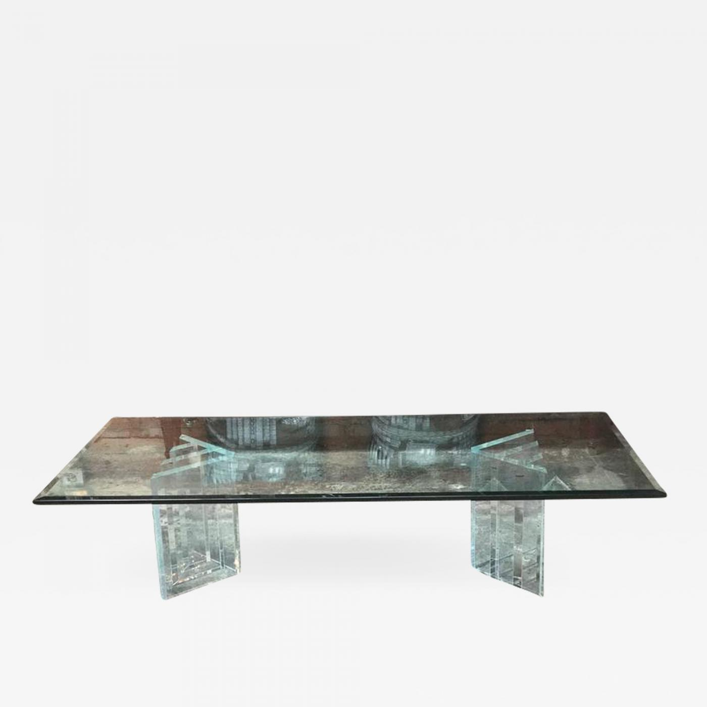Magnificent Beautiful Lucite Italian Coffee Table Base With Thick Glass Top Interior Design Ideas Clesiryabchikinfo