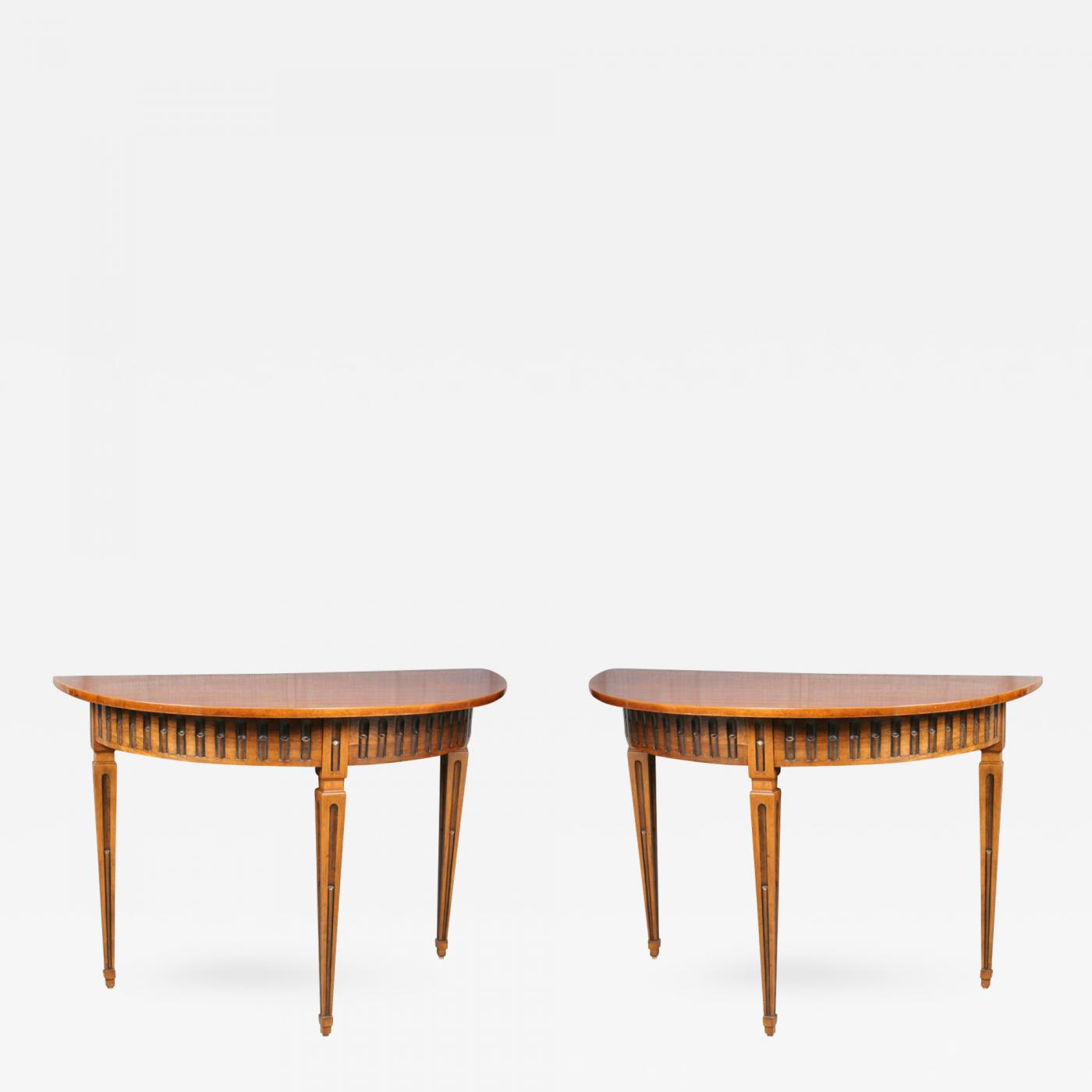 Beautiful Pair Of Solid Olive Wood Console Tables