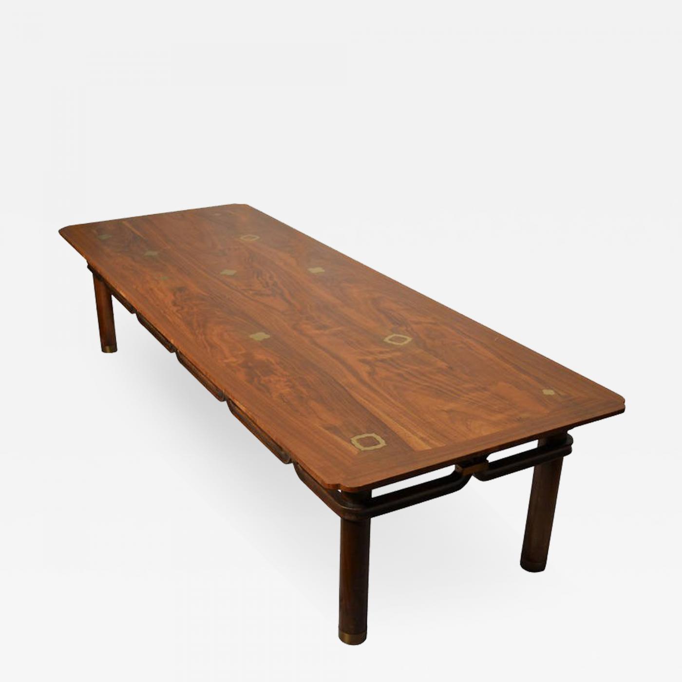 Bert England Brass Inlayed Asian Style Coffee Table Johnson Furniture Co Circa 1960