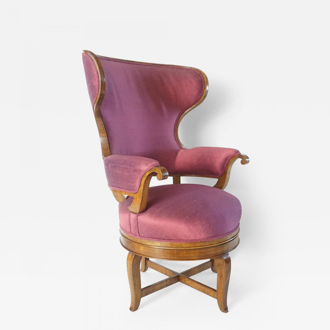 Biedermeier Fauteuil De Bureau Swivel Seat Wingback Chair Circa 1830. Tap  To Expand