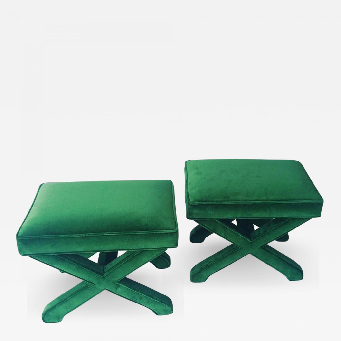 Mid Century Modern Baldwin/ Baughman Style X Benches In Green Velvet, Pair