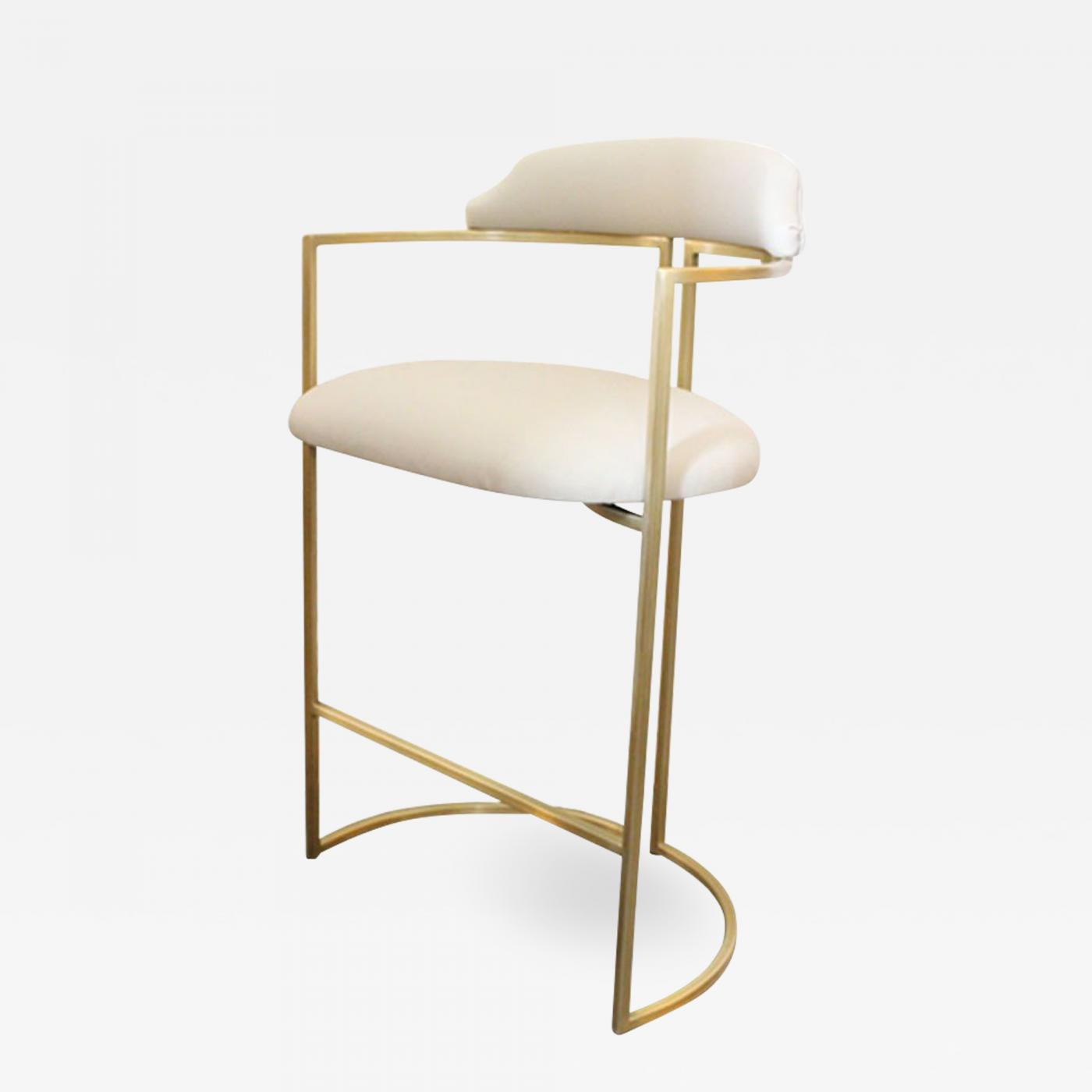 Superb Again Again Custom Brass Bar Stools Upholstered In White Leather Theyellowbook Wood Chair Design Ideas Theyellowbookinfo