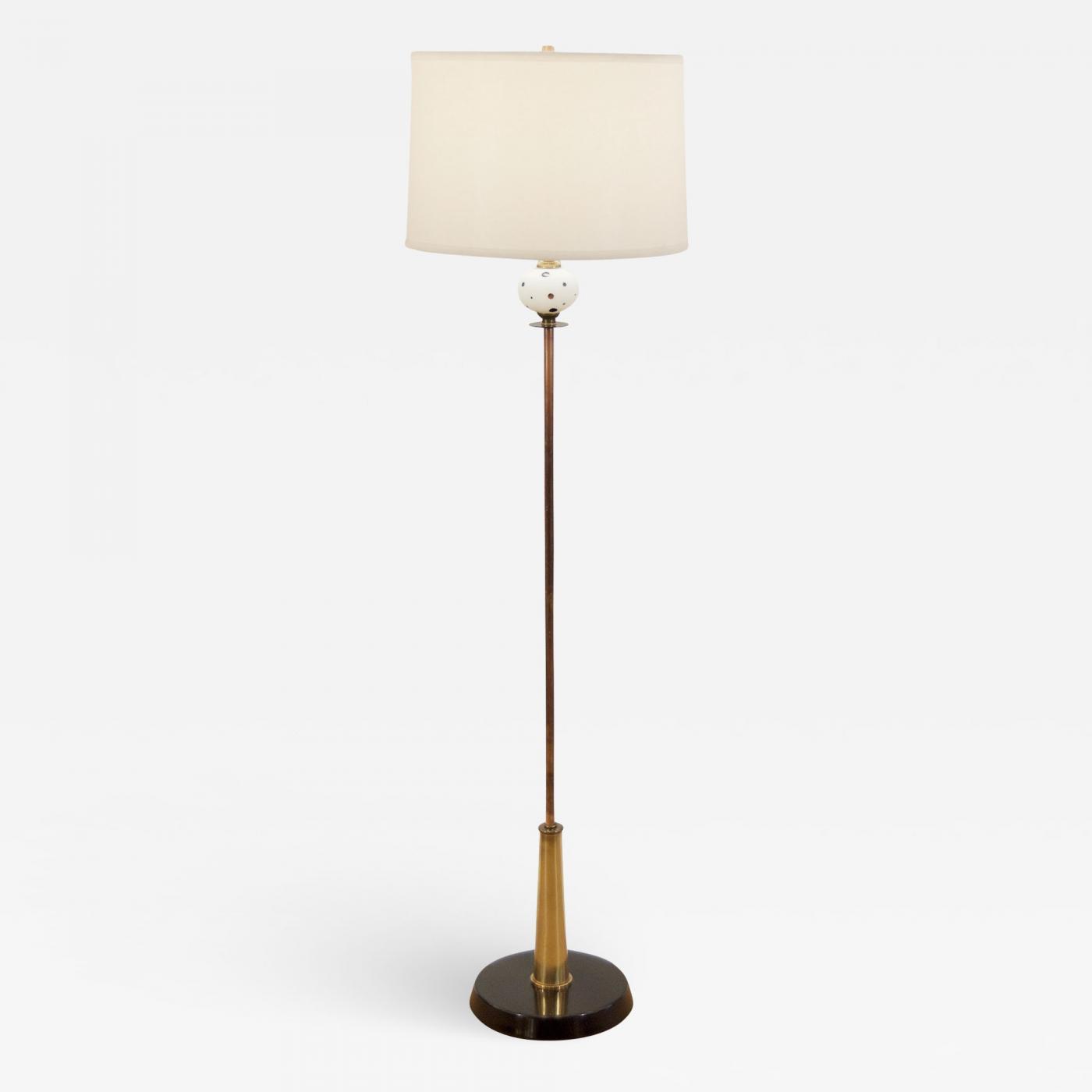 Brass Copper And Enamel Midcentury Floor Lamp