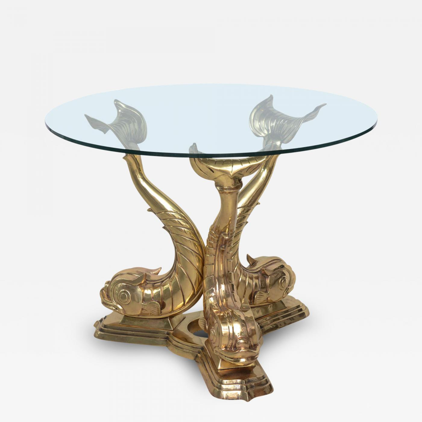 Brass Dolphin Center Table