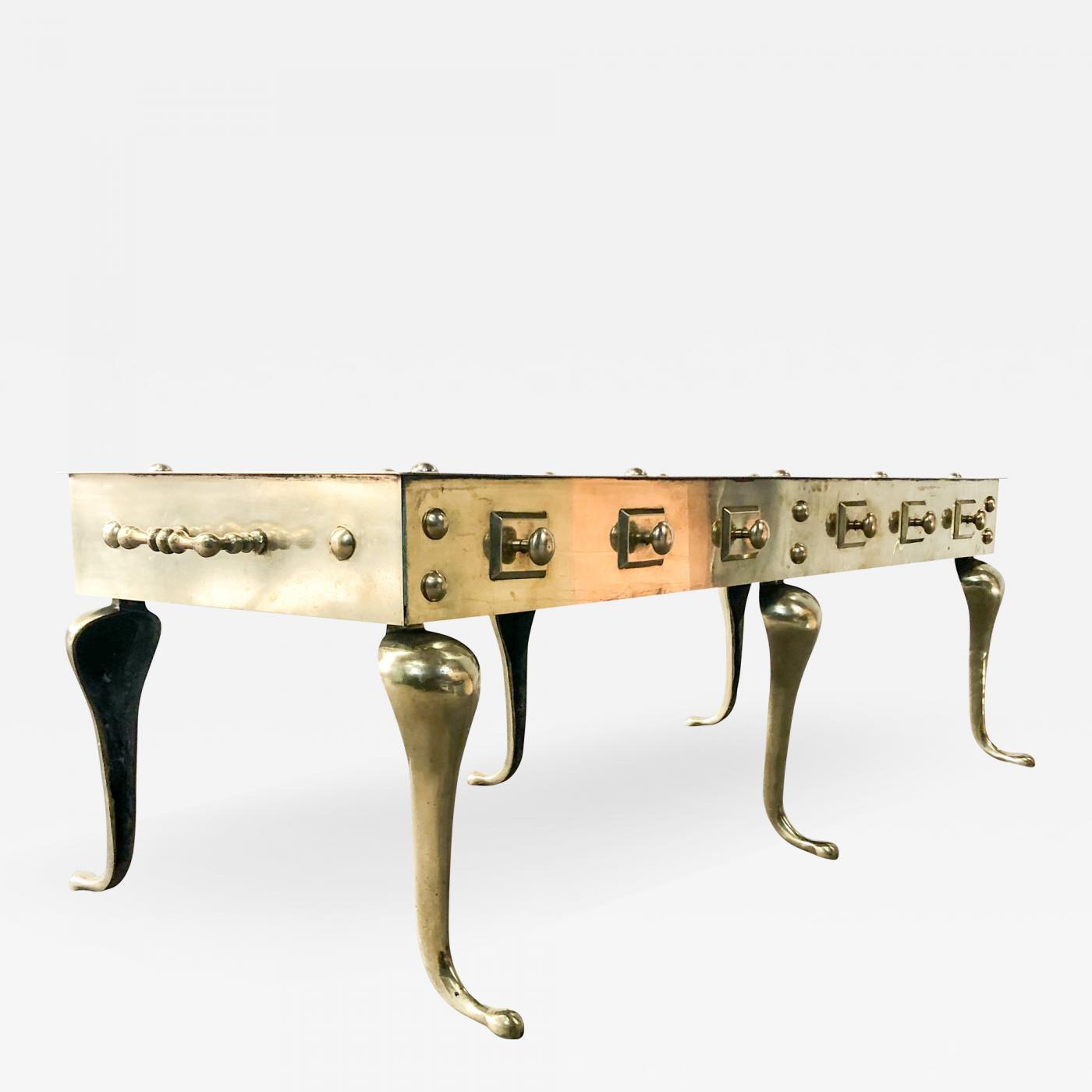 - Brass Footman Coffee Table Queen Anne Style Circa 1960s
