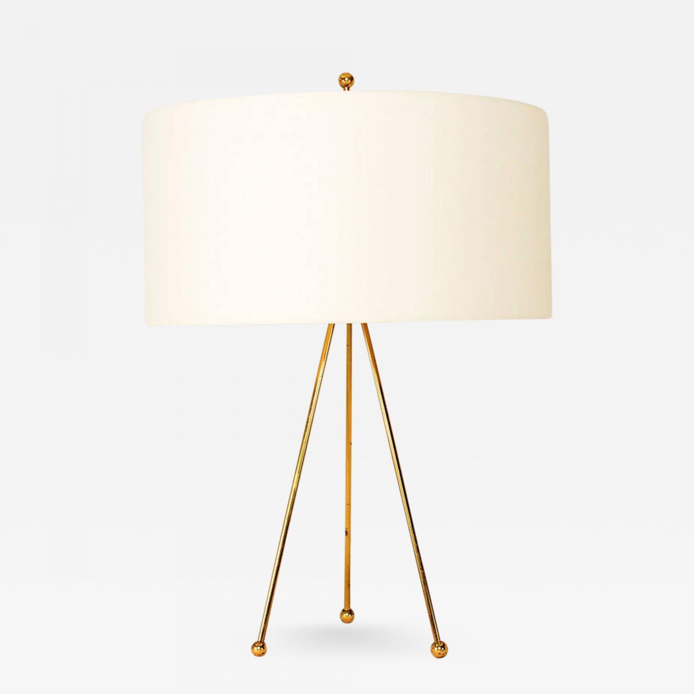 T H Robsjohn Gibbings Mid Century Modern Brass Tripod Table Lamp By Robsjohn Gibbings