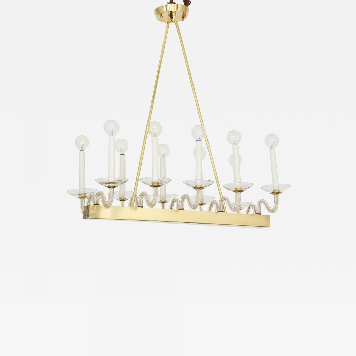 Brass And Glass Mid Century Chandelier