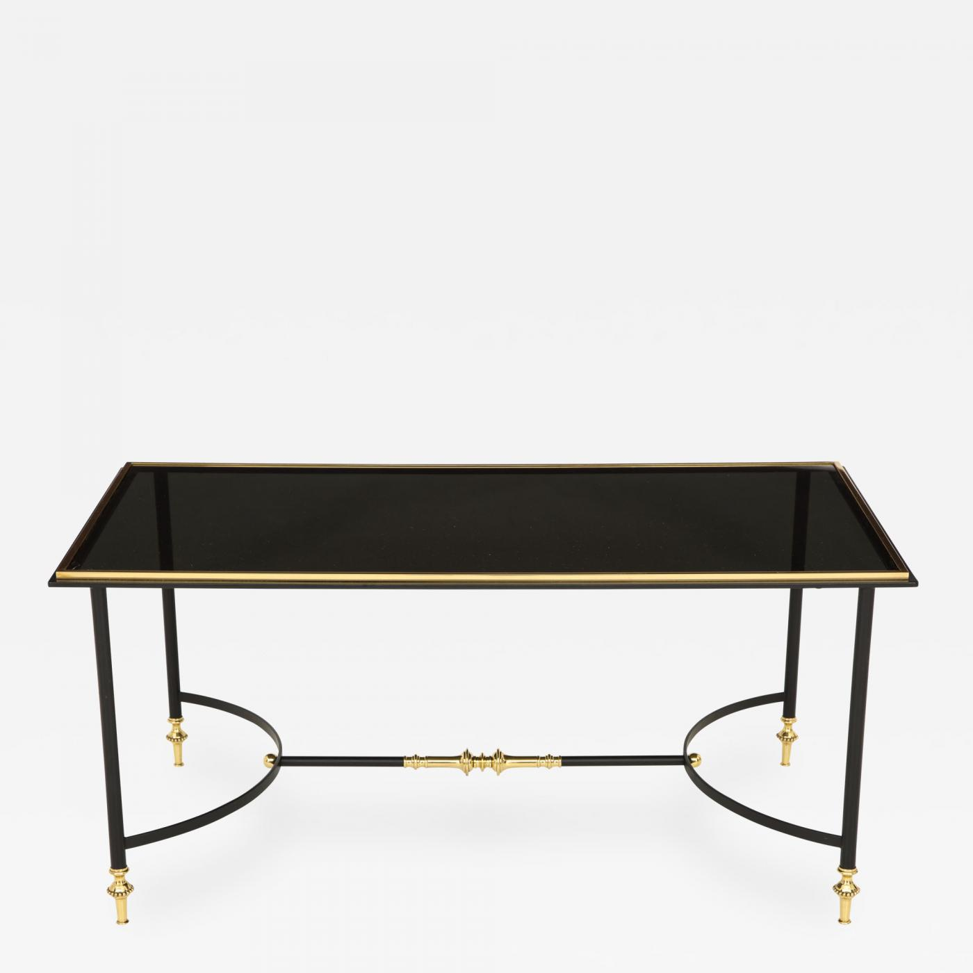 Bronze And Iron Coffee Table With Black Glass Top