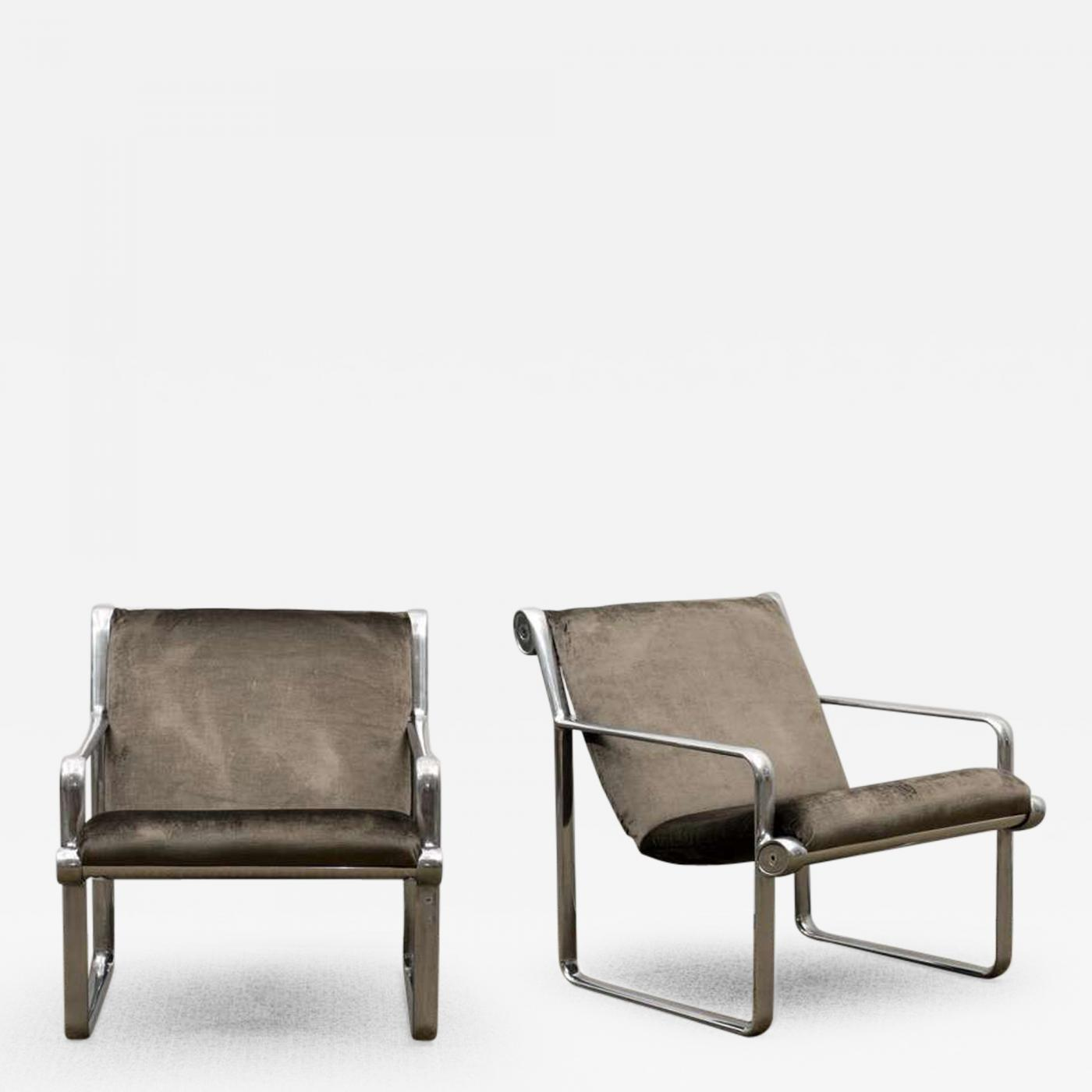 Bruce Hannah Rare Pair of Aluminum Lounge Club Chairs by Hannah