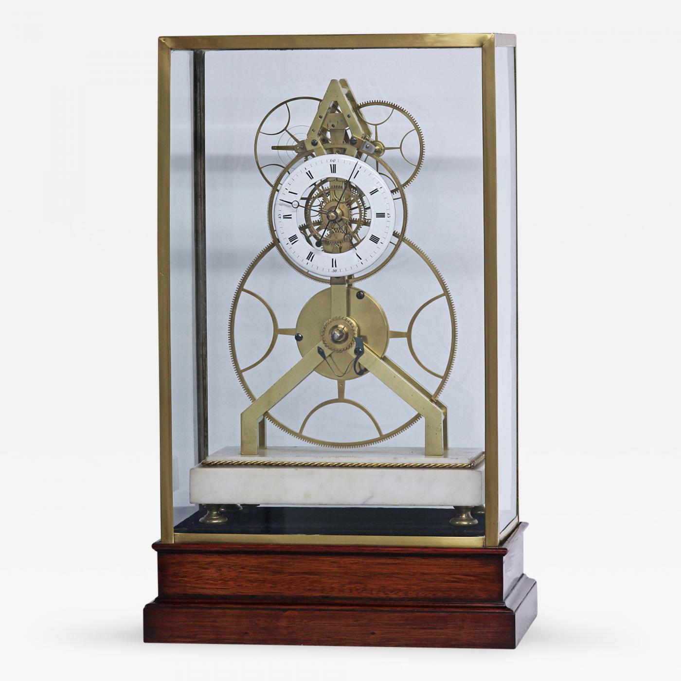 1815 rare french great wheel skeleton clock with balance wheel