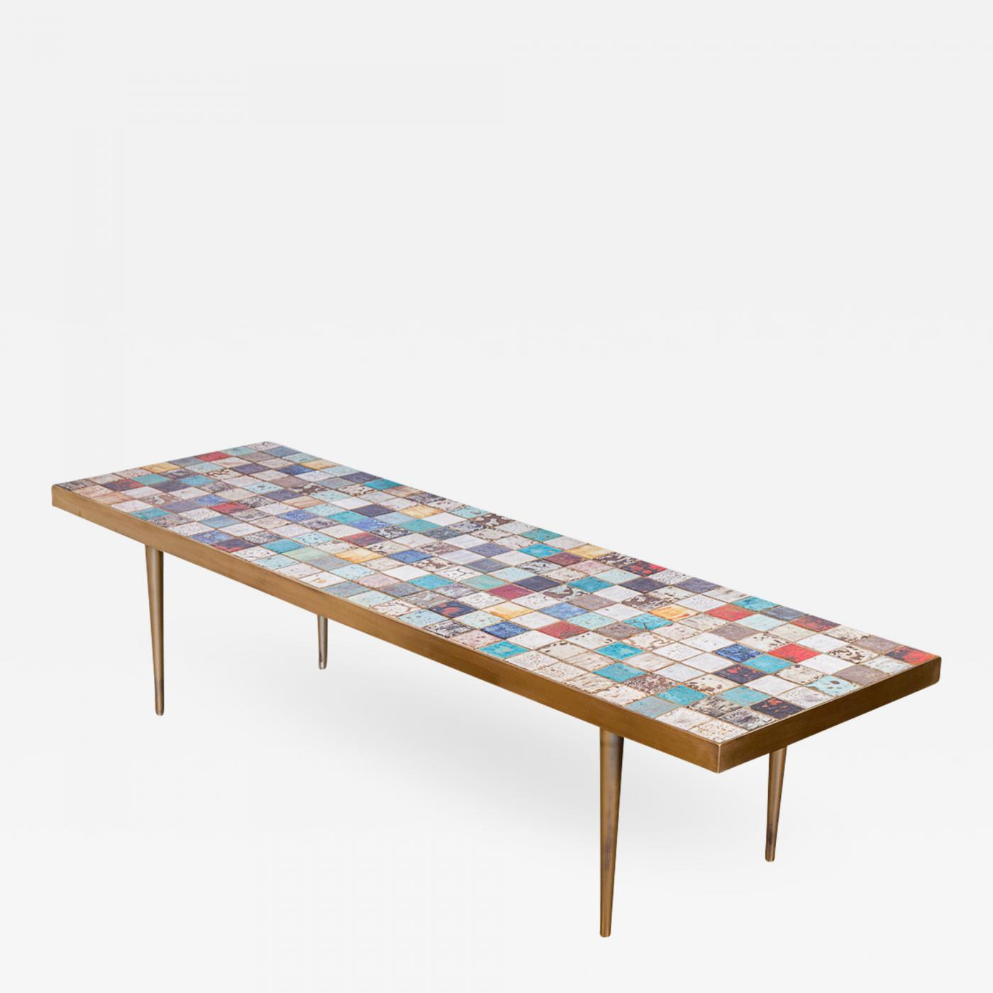 - California Modern Tile-Top Brass Coffee Table