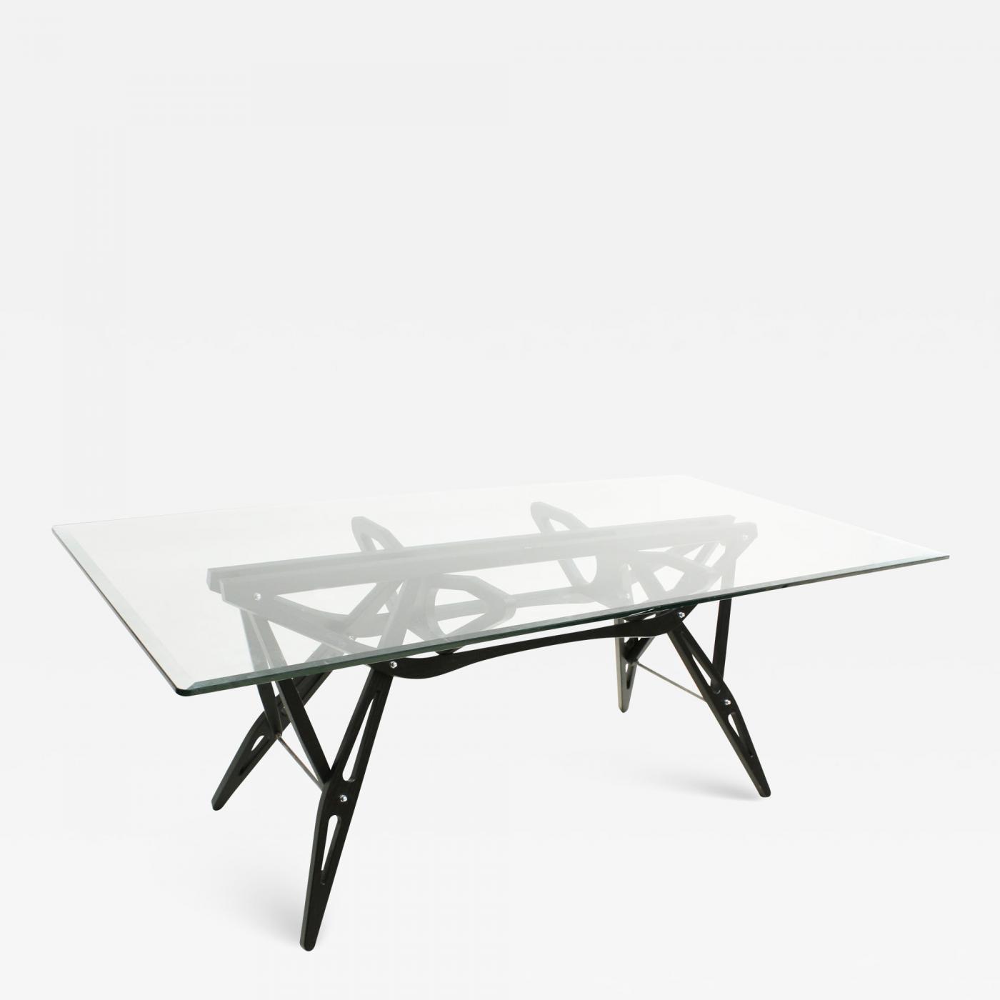 Reale Carlo Mollino And Zanotta Glass And Black Cherrywood Table