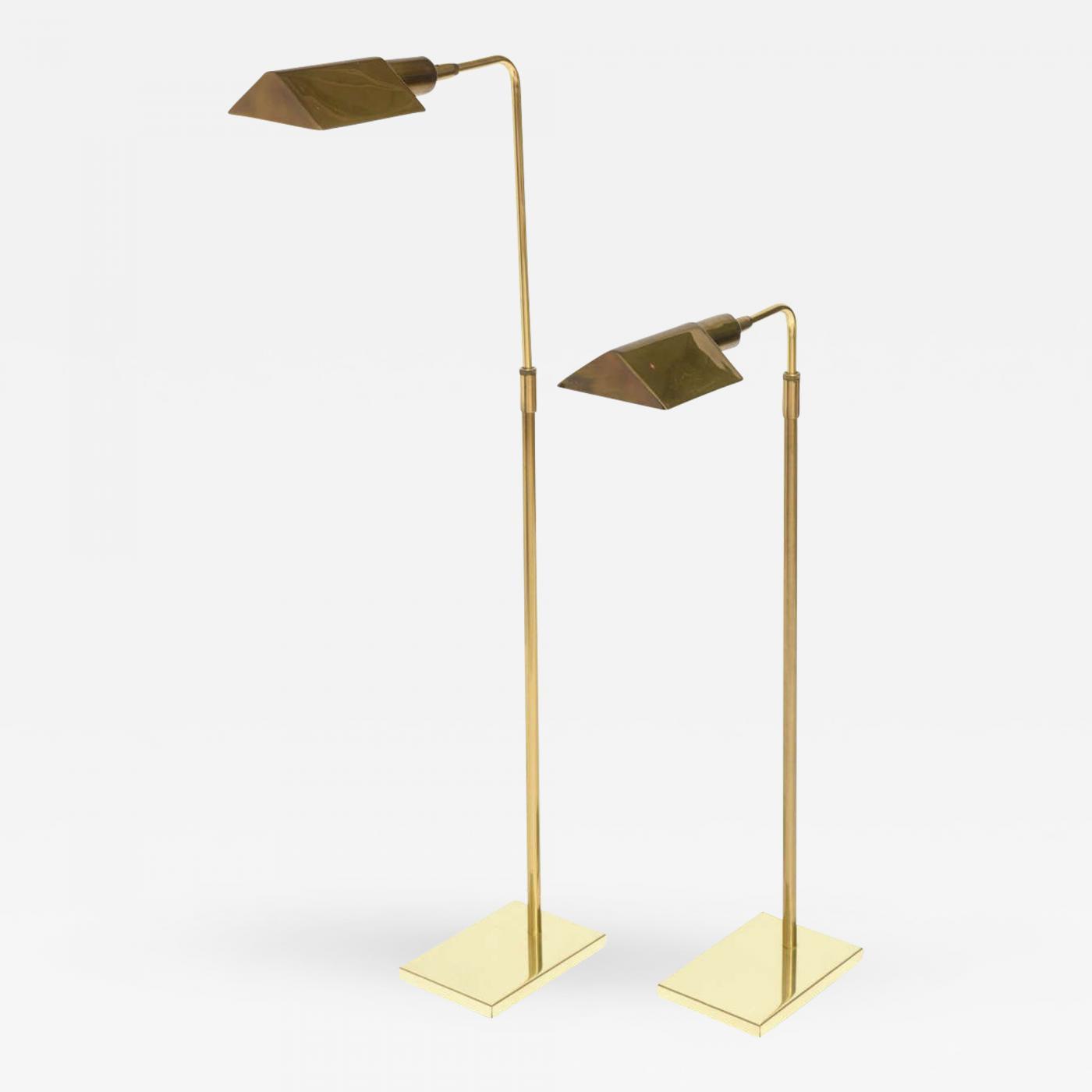 Image of: Cedric Hartman Pair Of Brass Adjustable Pharmacy Floor Lamps In The Style Of Cedric Hartman