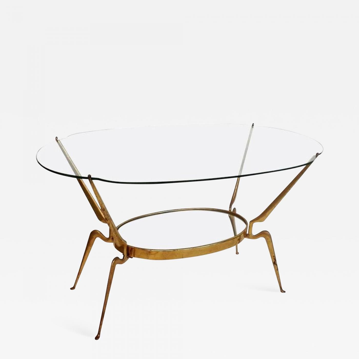 Cesare Lacca Brass Glass Coffee Table By Cesare Lacca Italy Mid Century Modern 1950s